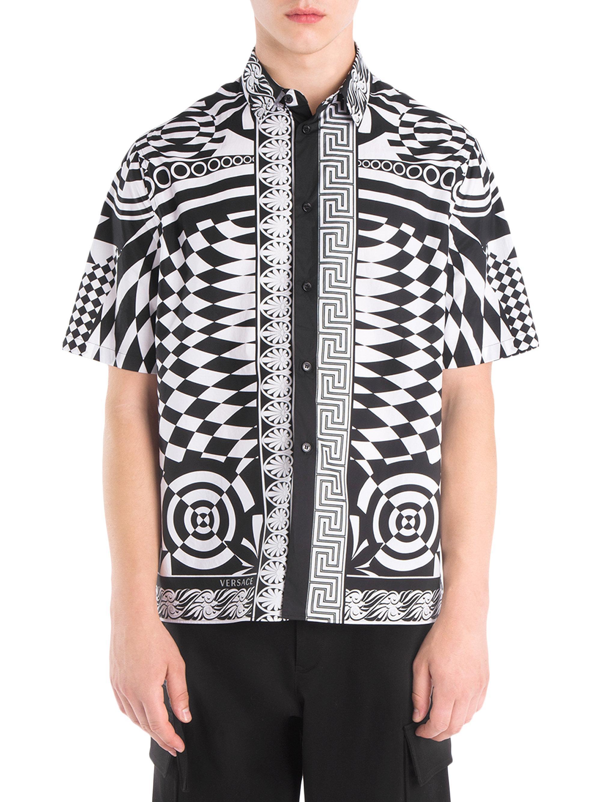 Versace printed silk short sleeve button down shirt in for Silk button down shirt