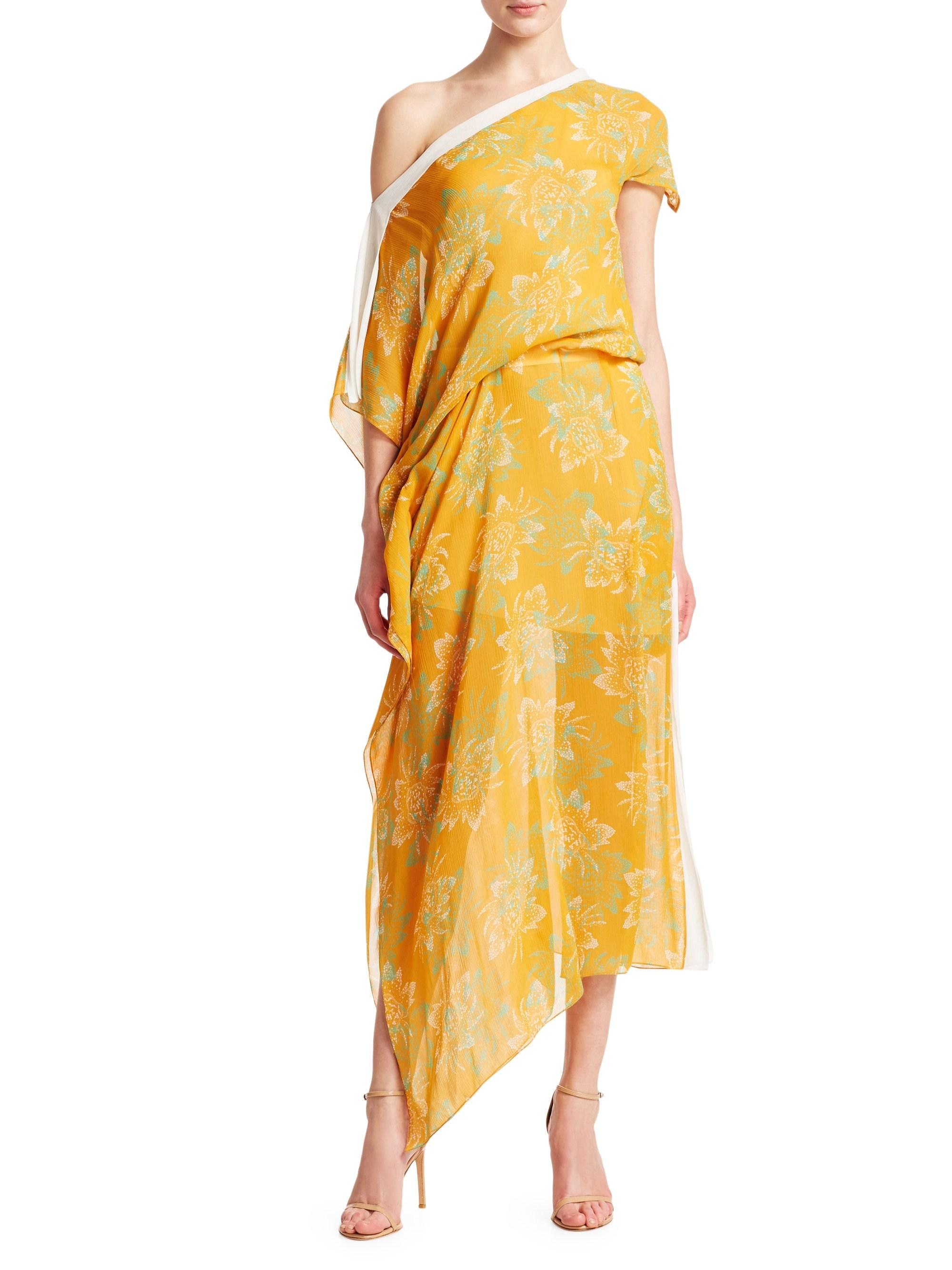 9057e0ca7e Roland Mouret Arklow Floral One-shoulder Dress in Yellow - Lyst