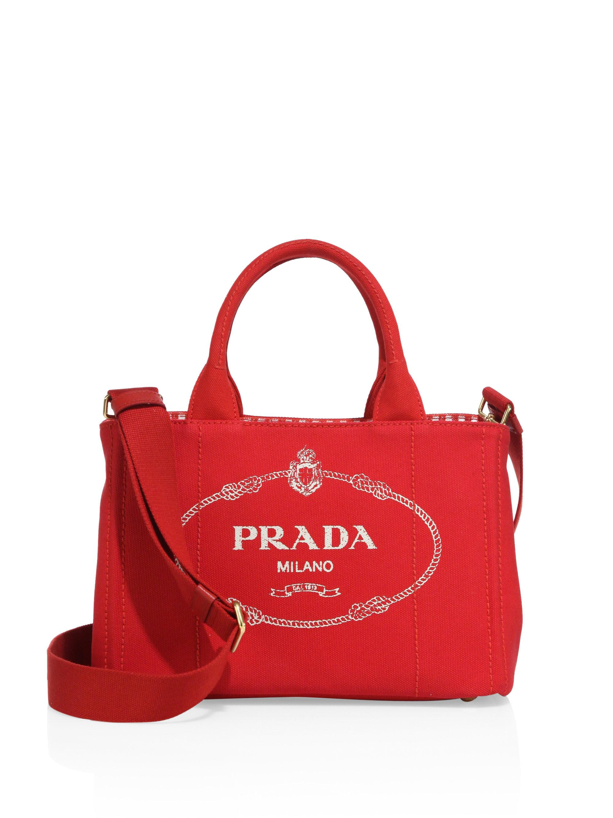 ab65c537d1f8 Prada Canapa Canvas Tote in Red - Lyst