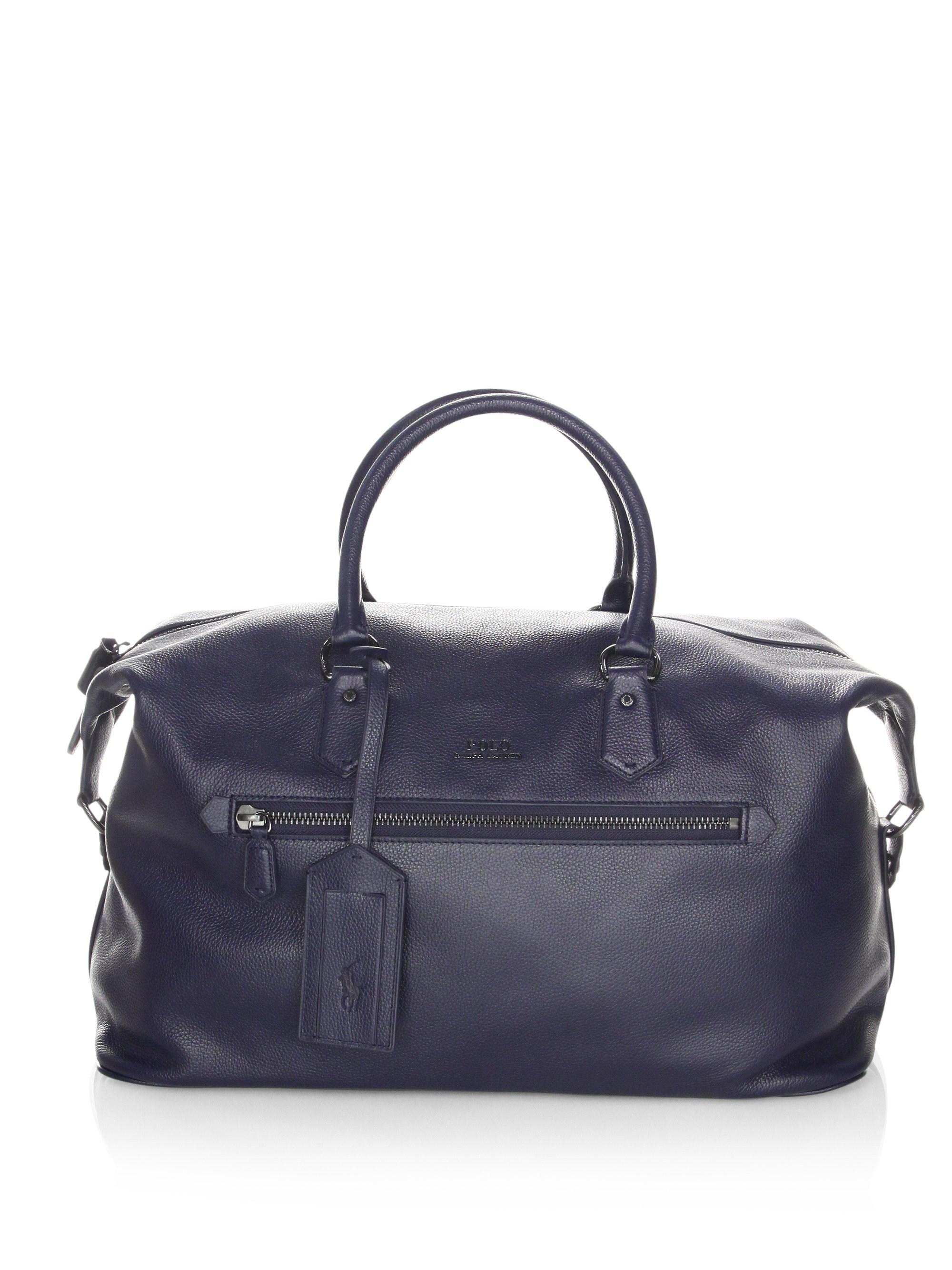 Lyst - Polo Ralph Lauren Pebbled Leather Duffle Bag in Blue for Men 3461eb4e8866e