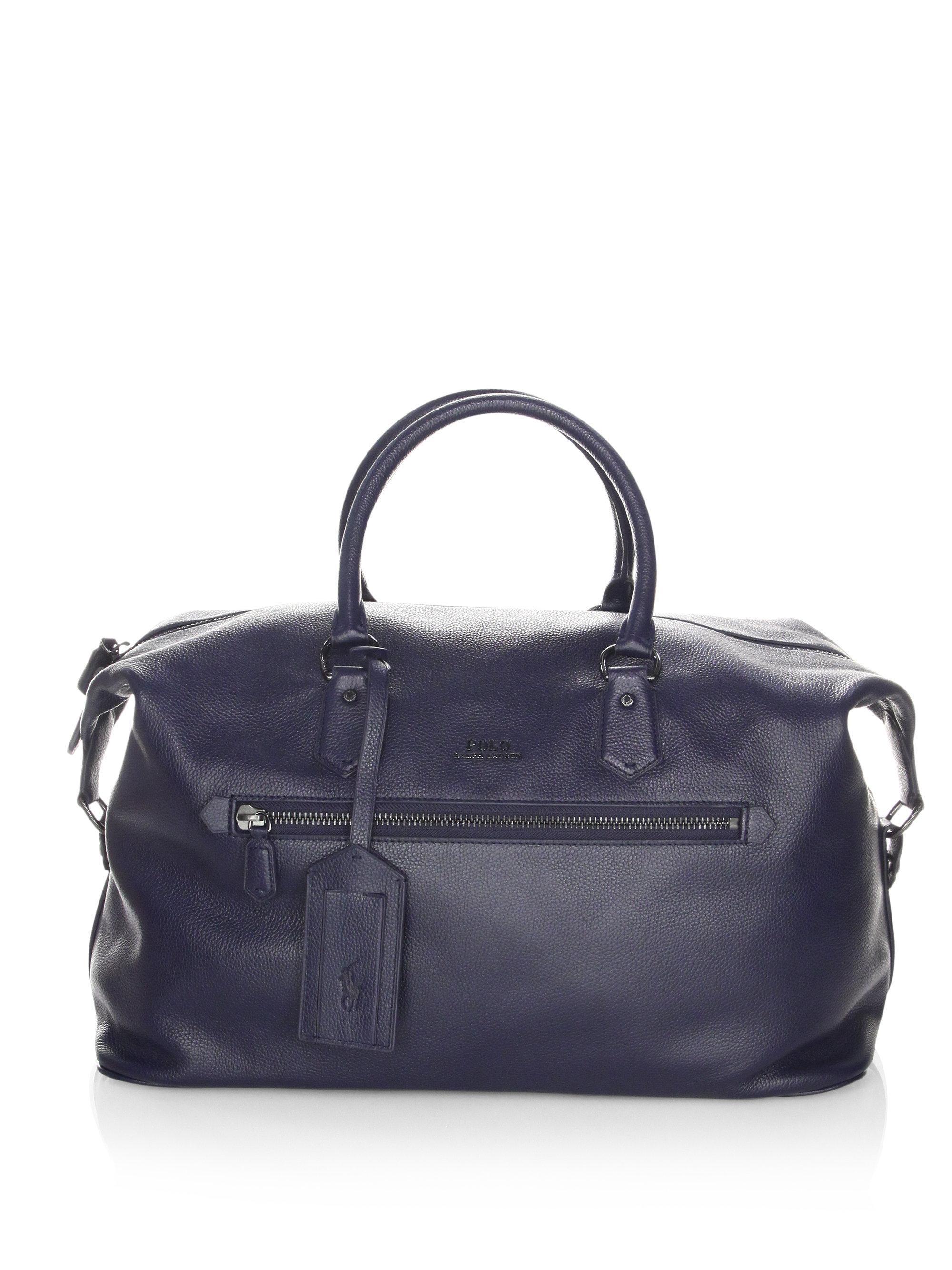 1b236b3c416 ... authentic polo ralph lauren. mens blue pebbled leather duffle bag 449db  7a00f