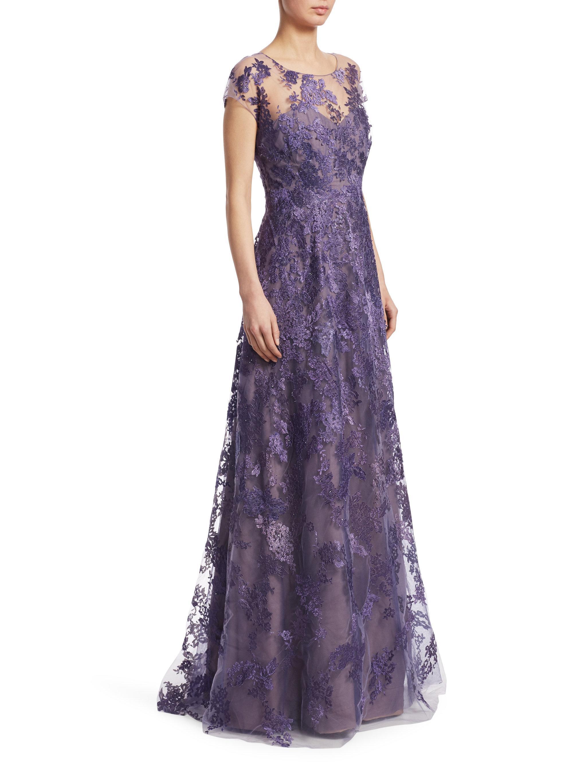 Lyst - Rene Ruiz Cap-sleeve Embellished Gown in Purple