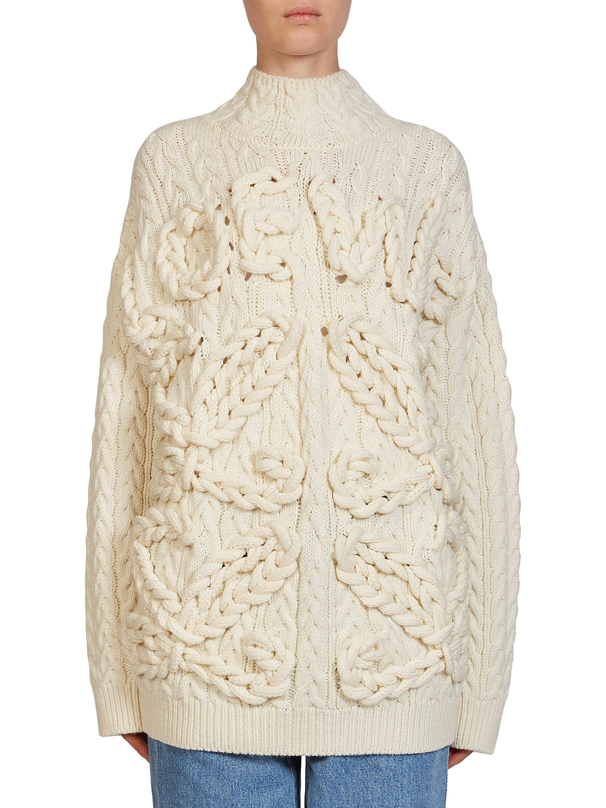 Loewe Cable Knit Wool Sweater | Lyst