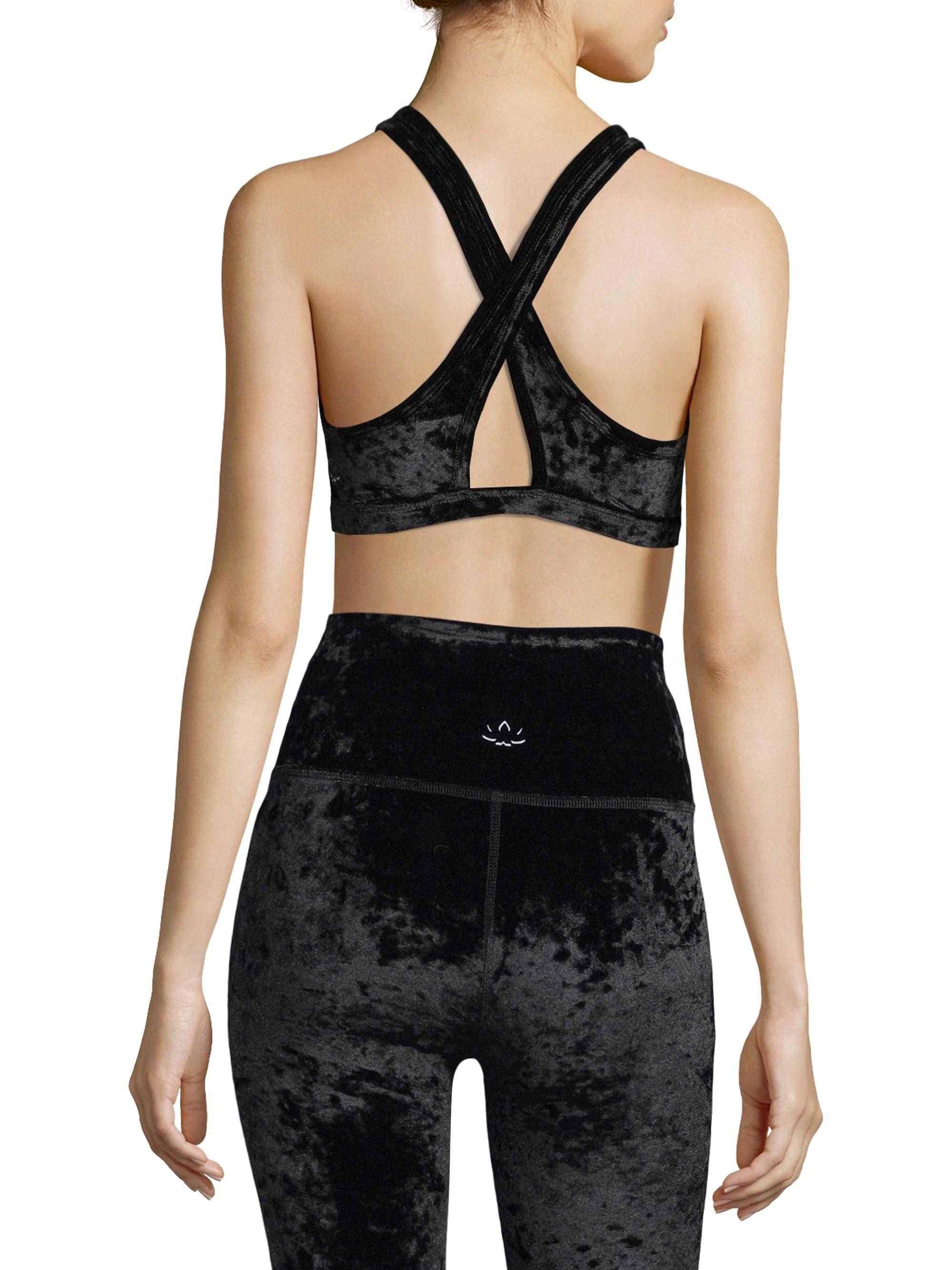 5af2f11489 Lyst - Beyond Yoga Crushed Velvet Sports Bra in Black