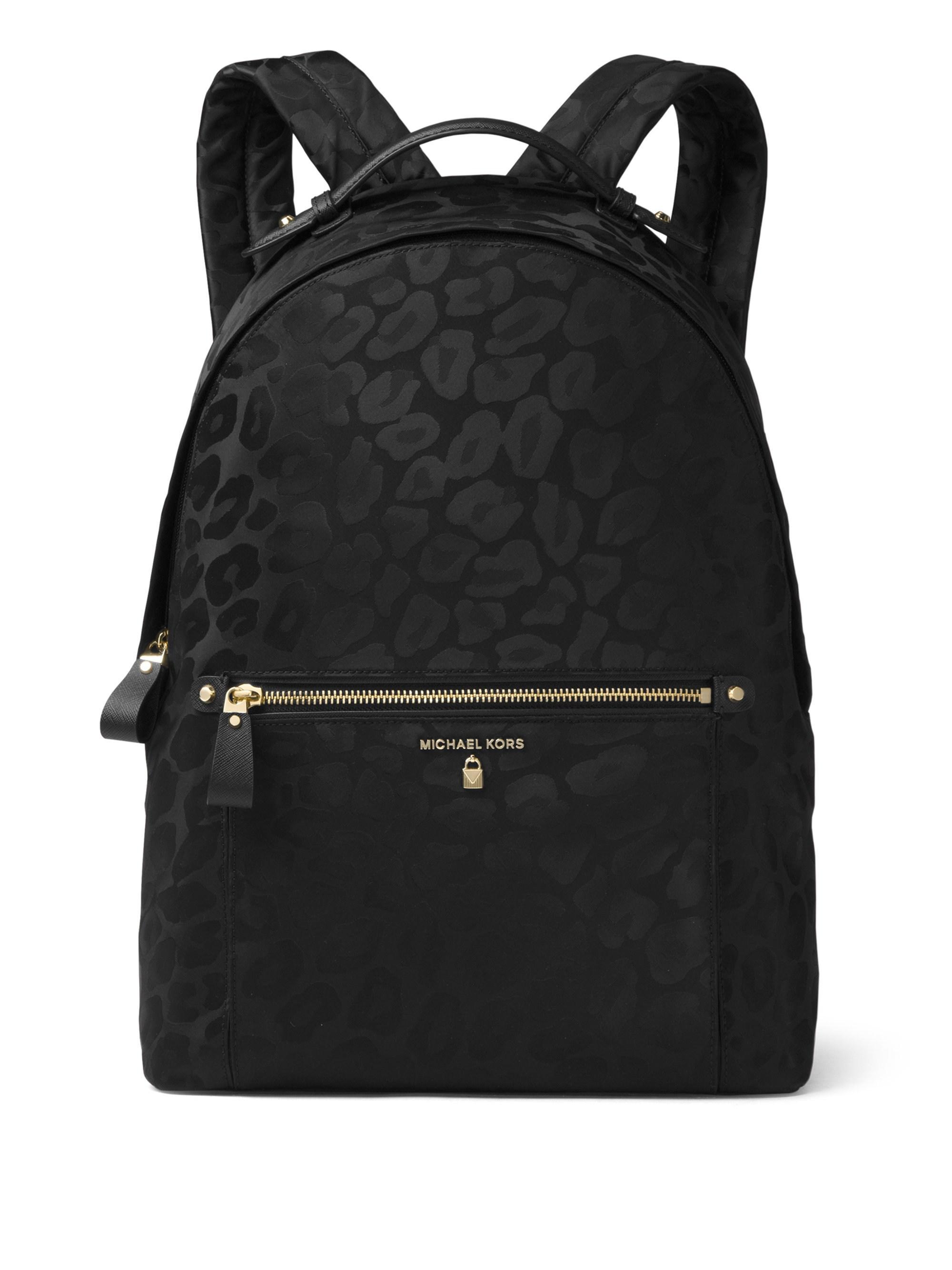 85c539828cccb ... usa michael michael kors. womens black kelsey large leopard nylon  backpack c01cb d1abc