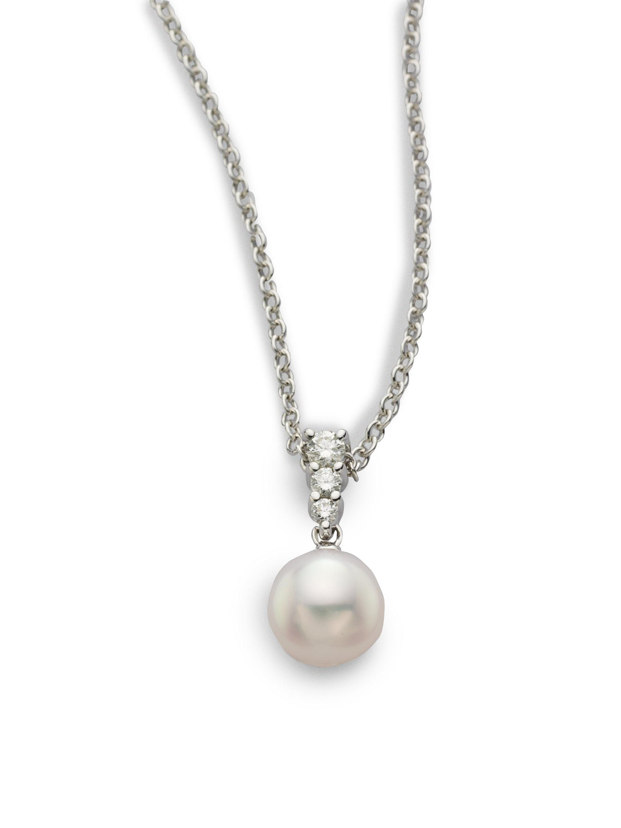 necklace pearl with white pendant mikimoto gold akoya