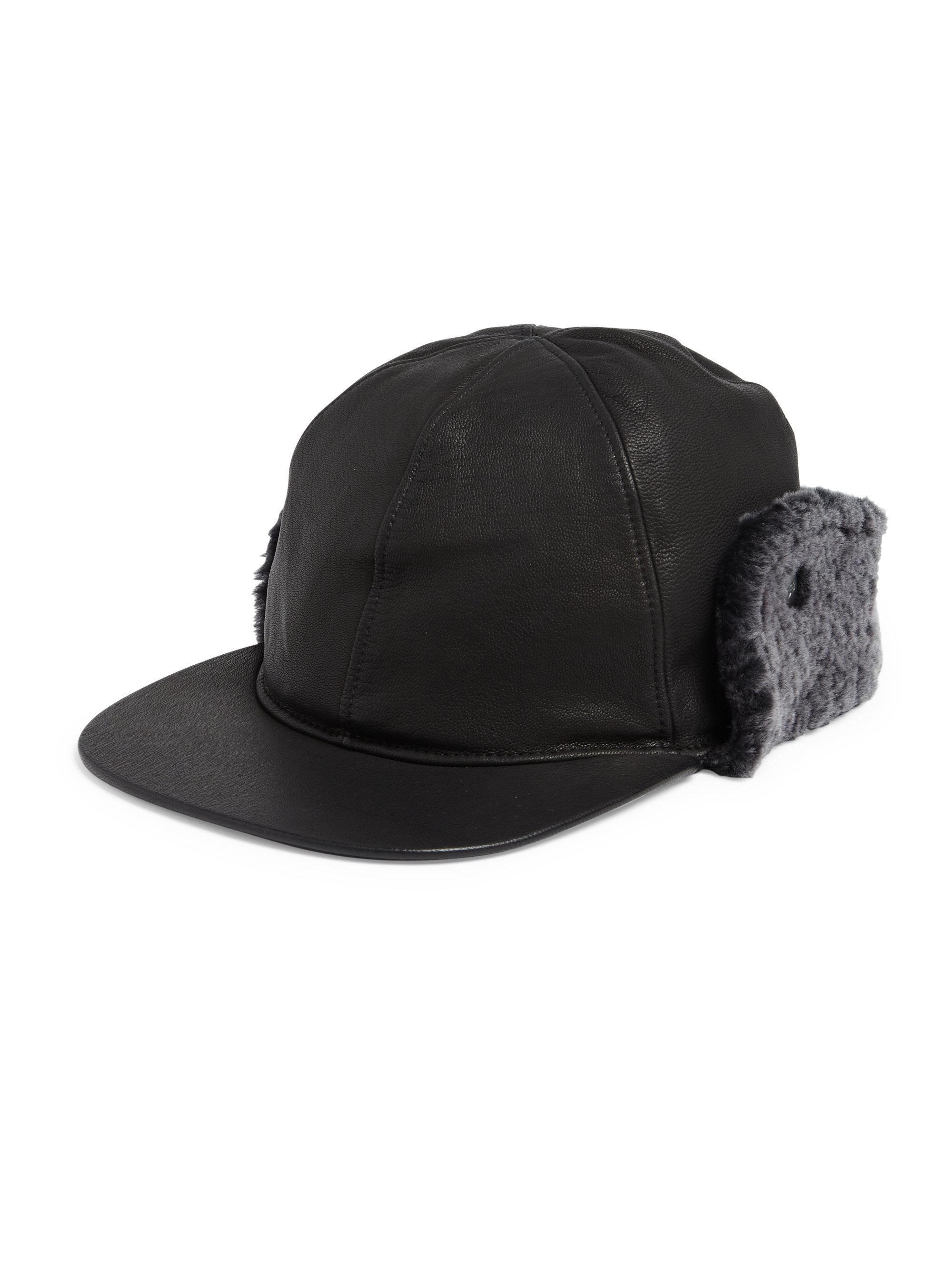 Ugg Sheepskin Shearling Fur Trimmed Leather Baseball Hat in Black ... d6ee75f6e164