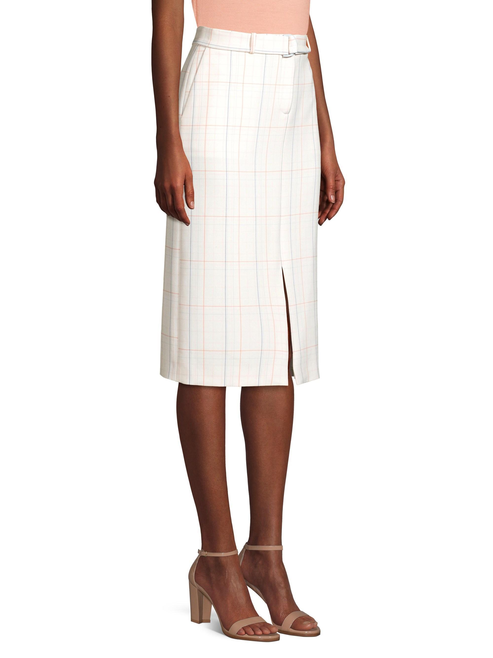 abc84c2459 Lyst - BOSS Women's Ponte Check Long Pencil Skirt - Vanilla Light - Size 0  in White