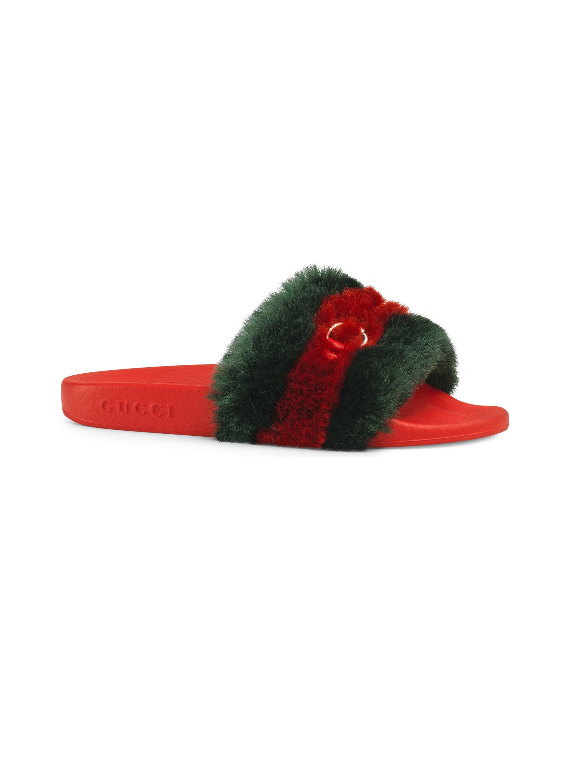 e31e8f803 Gucci Girl's Pursuit Faux Fur Slide Sandals - Red in Red - Lyst