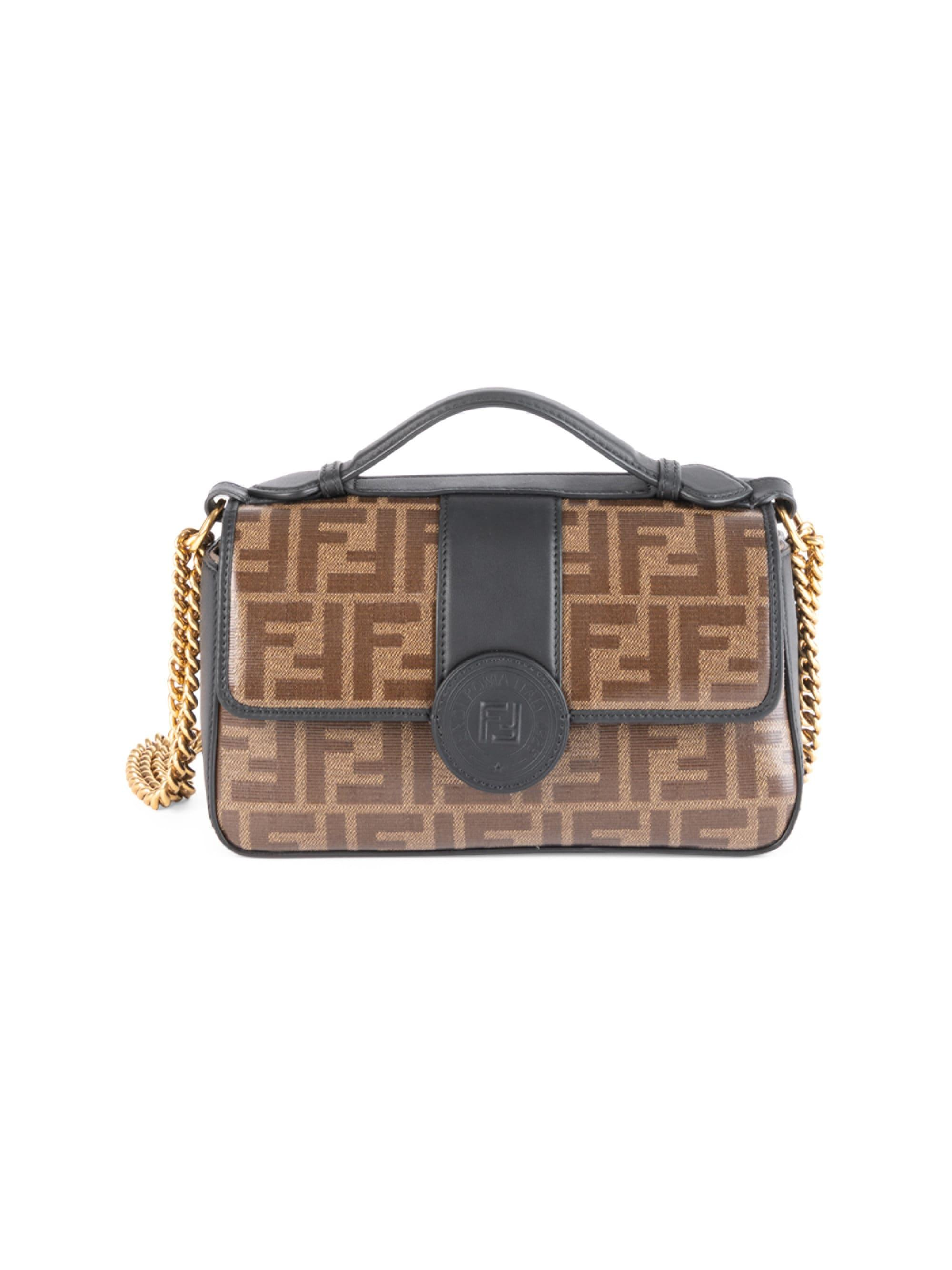 c9a64e08 Fendi Women's Small Double F Chain & Leather Shoulder Bag - Lyst