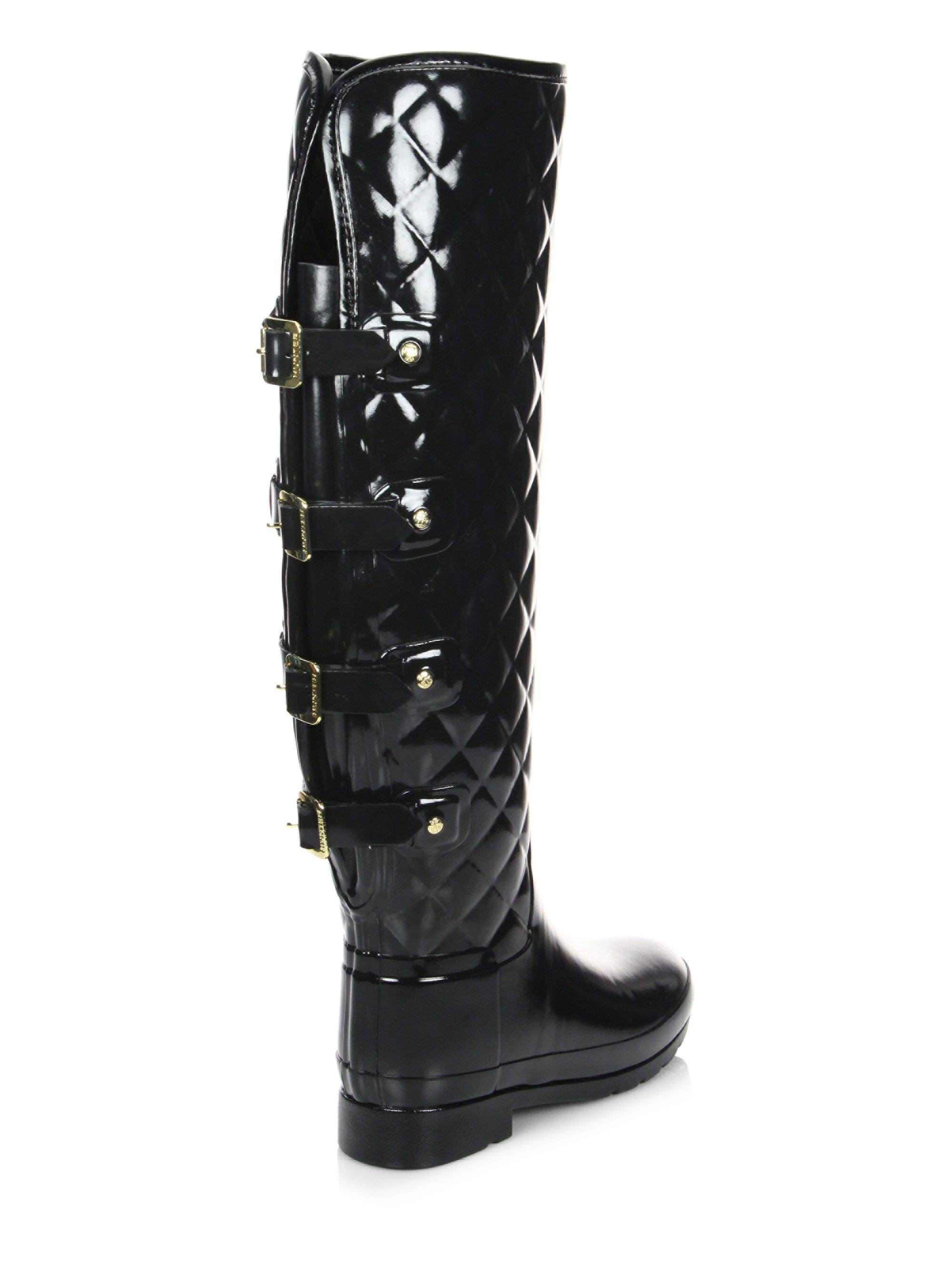 4ddfa521688 HUNTER Refined Quilted Over-the-knee Rain Boots in Black - Lyst