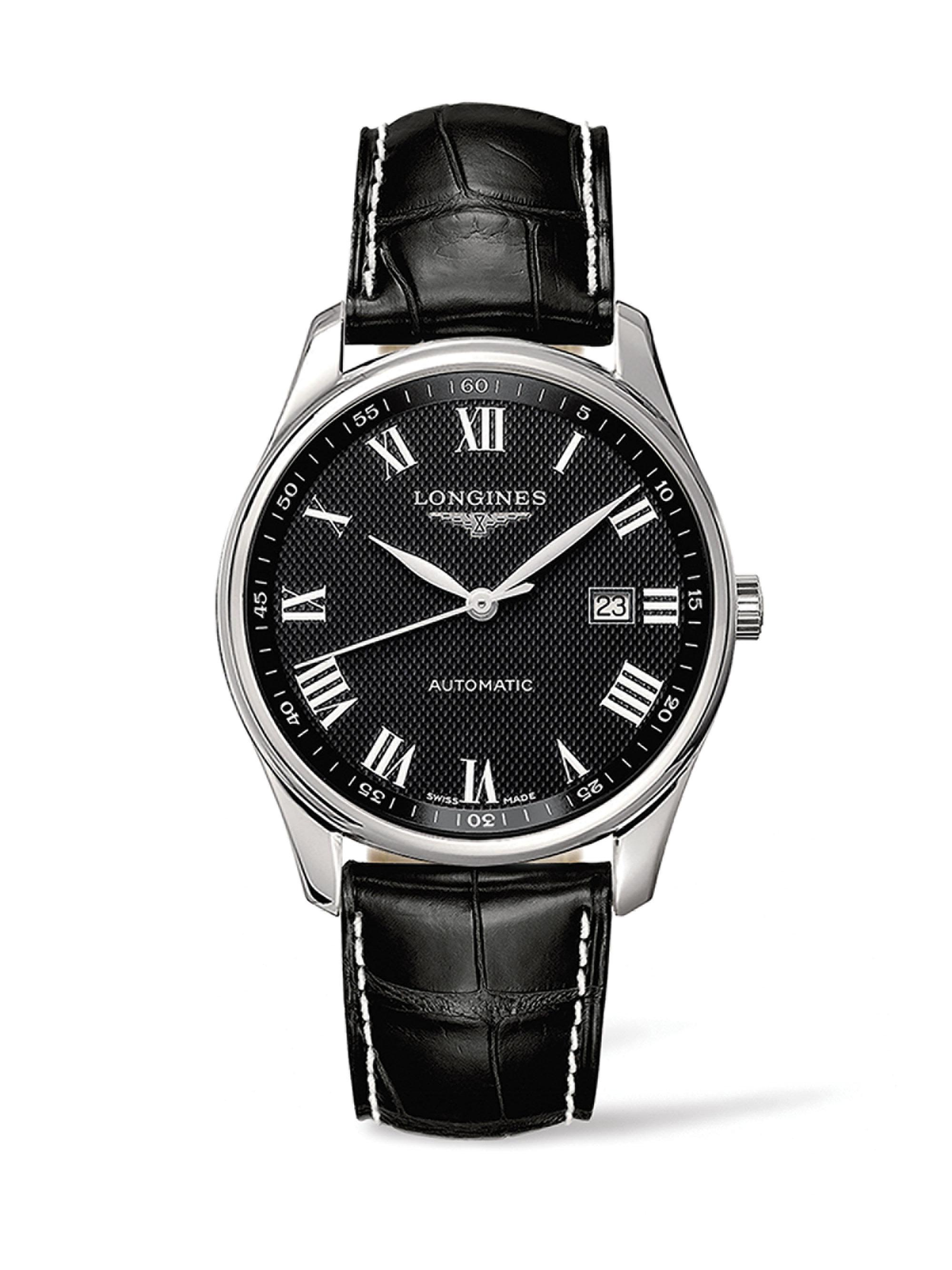 Lyst longines stainless steel alligator leather strap watch in black for men for Longines leather strap