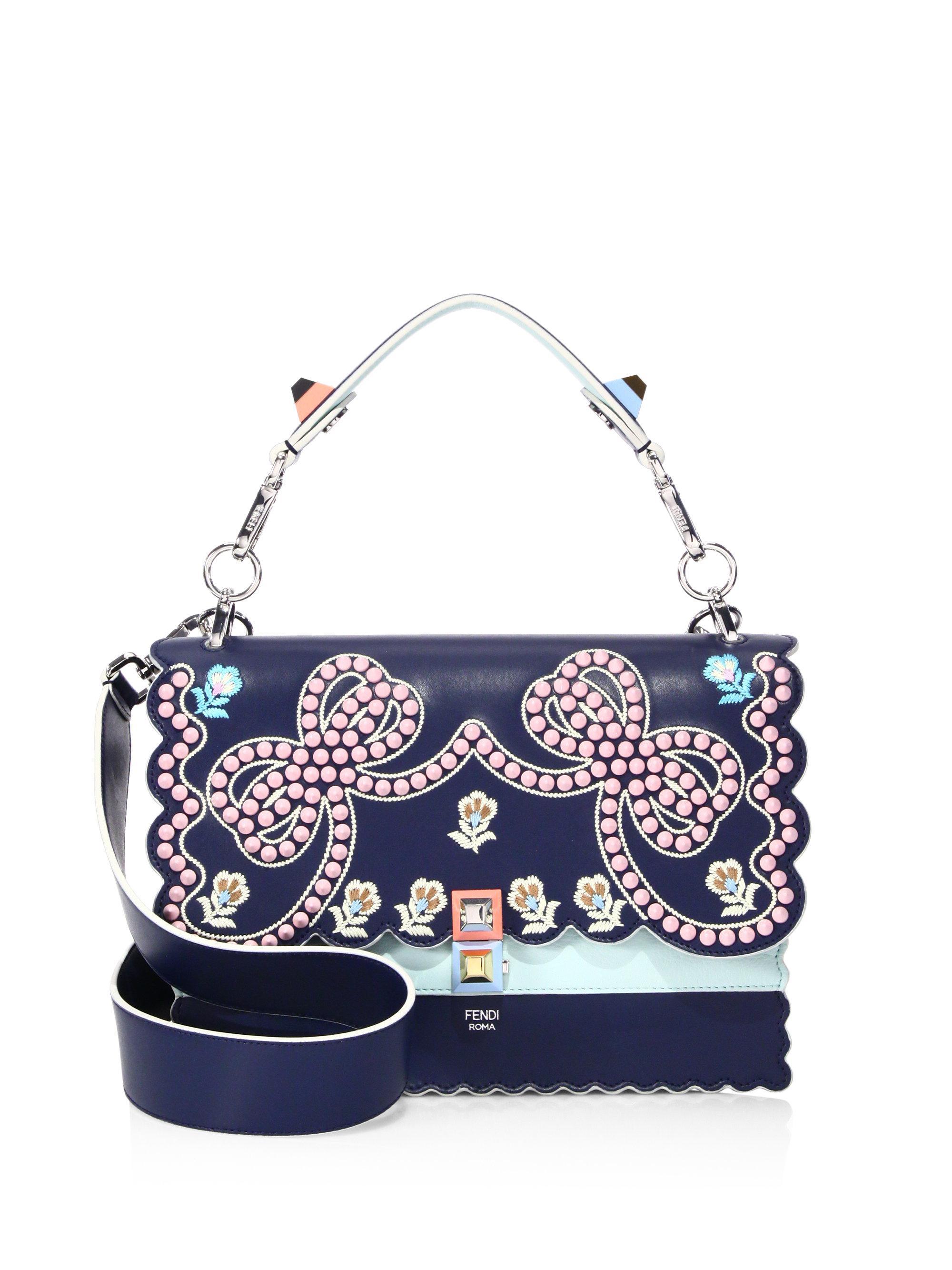Lyst - Fendi Kan I Embellished Metallic Leather Shoulder Bag in Blue 79054f4e6484b