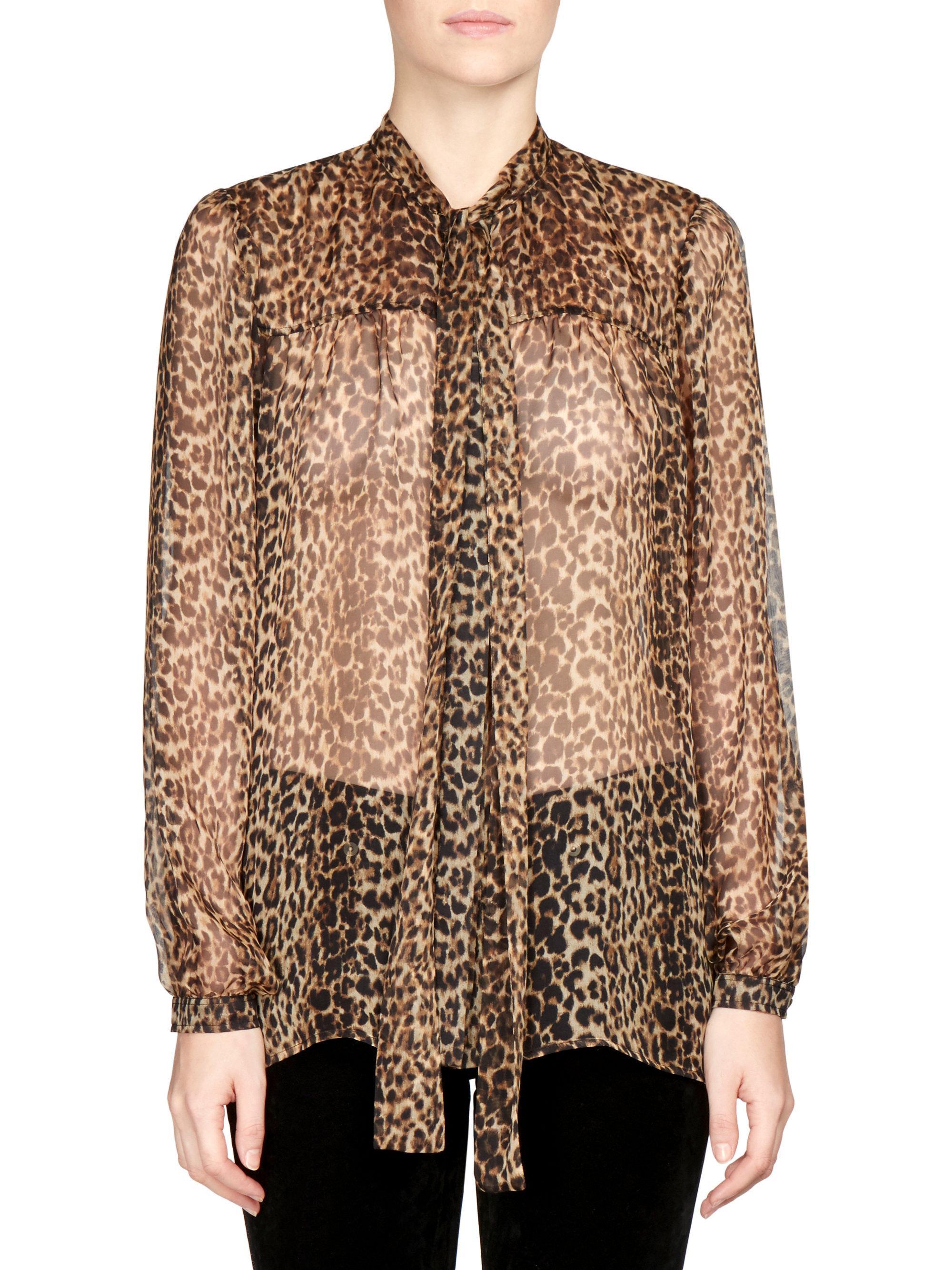 3fd89a16 Saint Laurent. Women's Silk Georgette Leopard Print Blouse