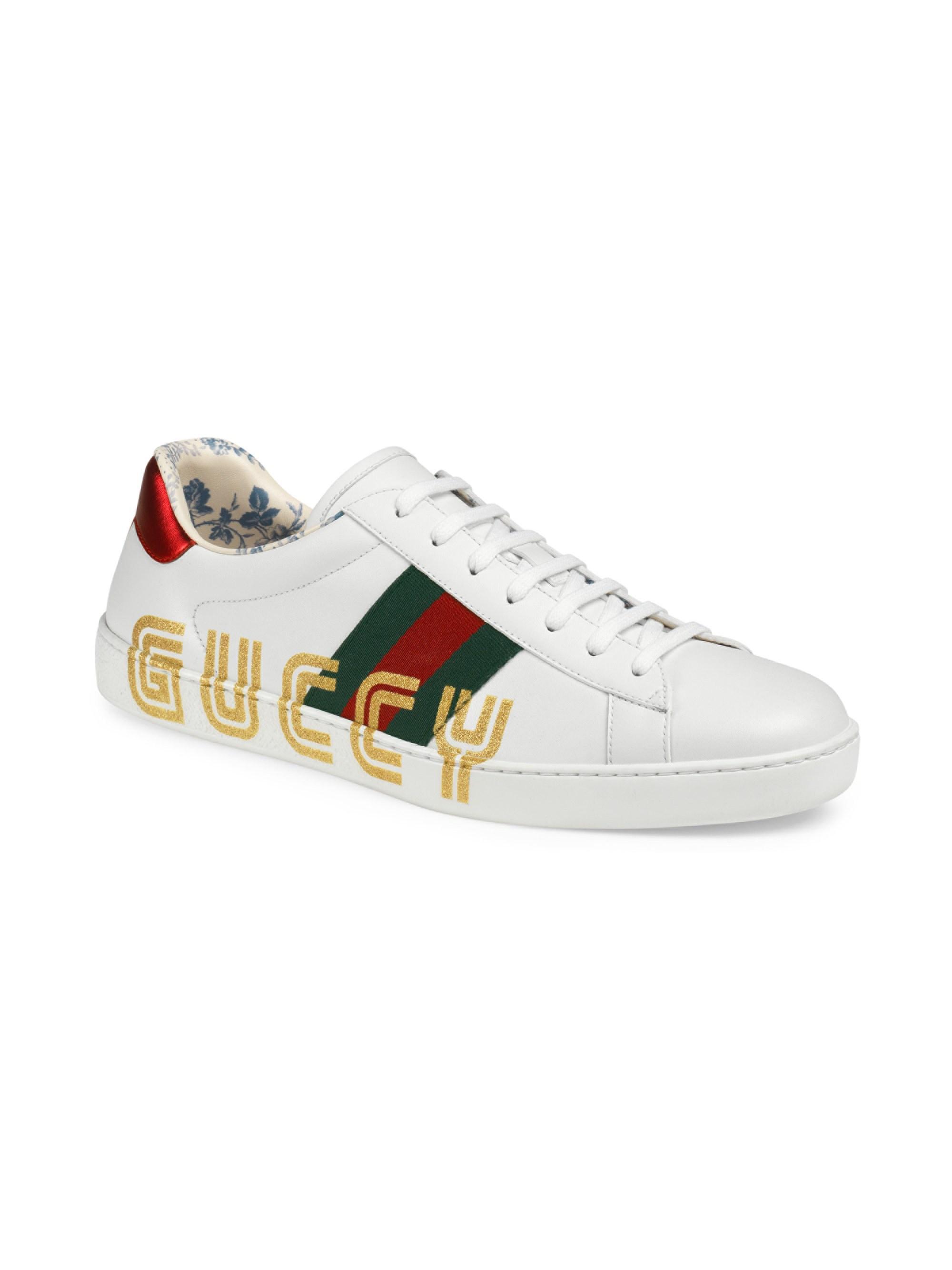 3fc681e5e Lyst - Gucci Men's New Ace Sneaker With Guccy Print - Multi White ...