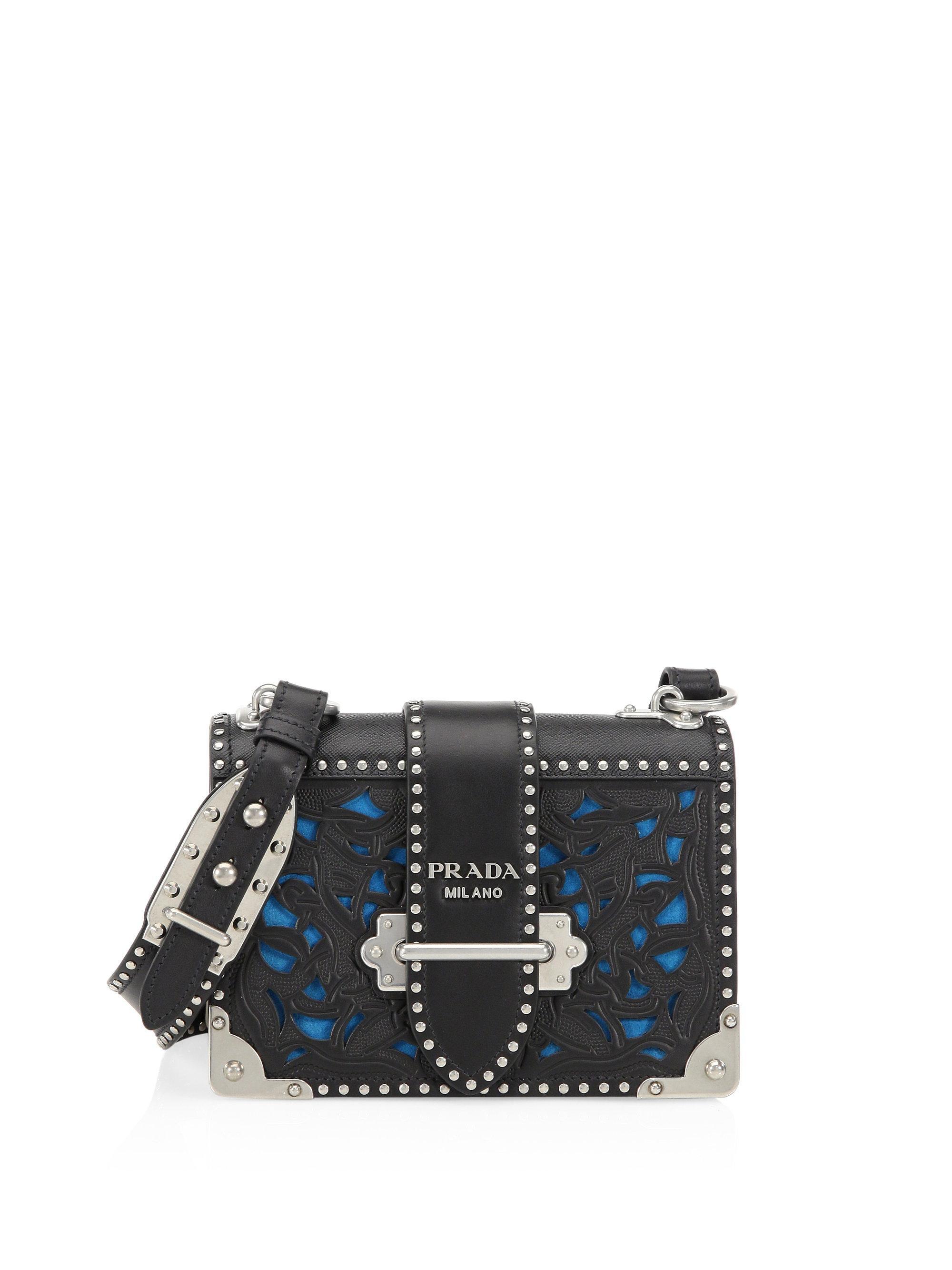 dfa911b7de ... czech prada. womens black cahier laser cut saffiano leather crossbody  bag f7536 95af7