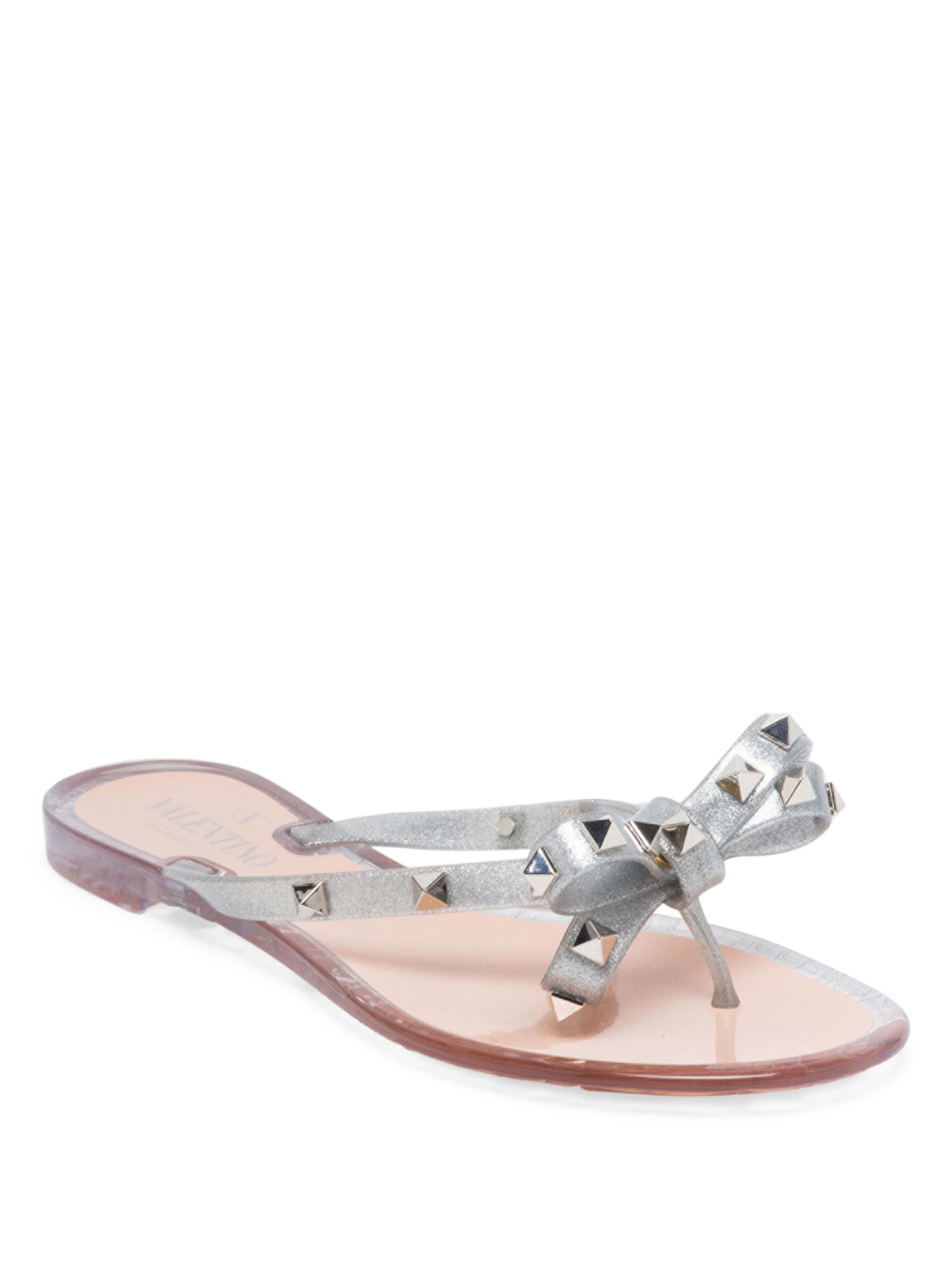 buy cheap 2015 new really Valentino Grey Valentino Garavani Rockstud Jelly Bow Sandals wjXJg