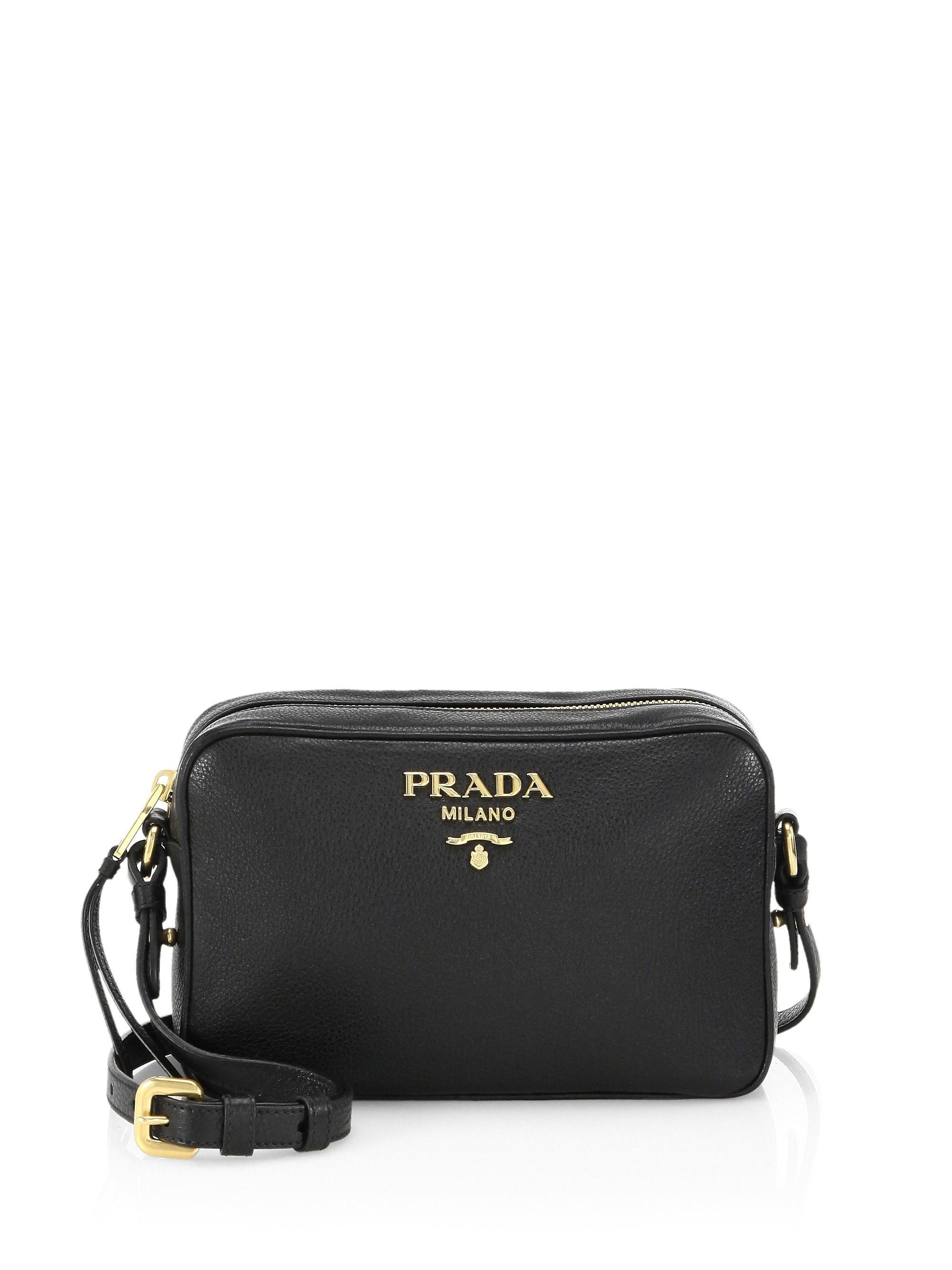 4db951cf0122 Prada - Black Women s Daino Textured Leather Mini Crossbody Bag - Cammeo -  Lyst. View fullscreen