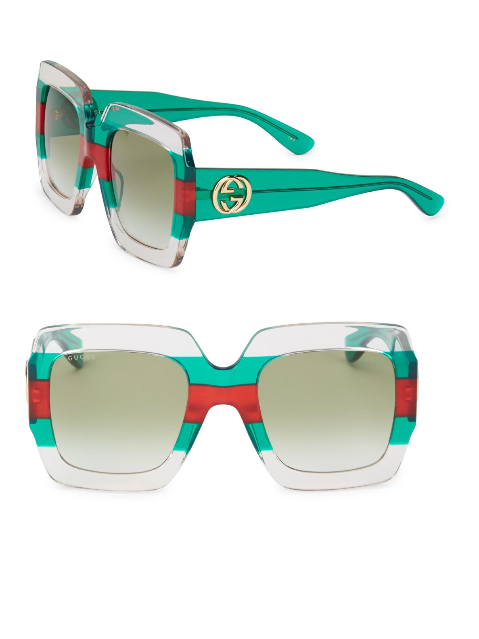 f9bbbb1131 Gucci - Green Women s Web 54mm Oversized Square Sunglasses - Lyst. View  fullscreen