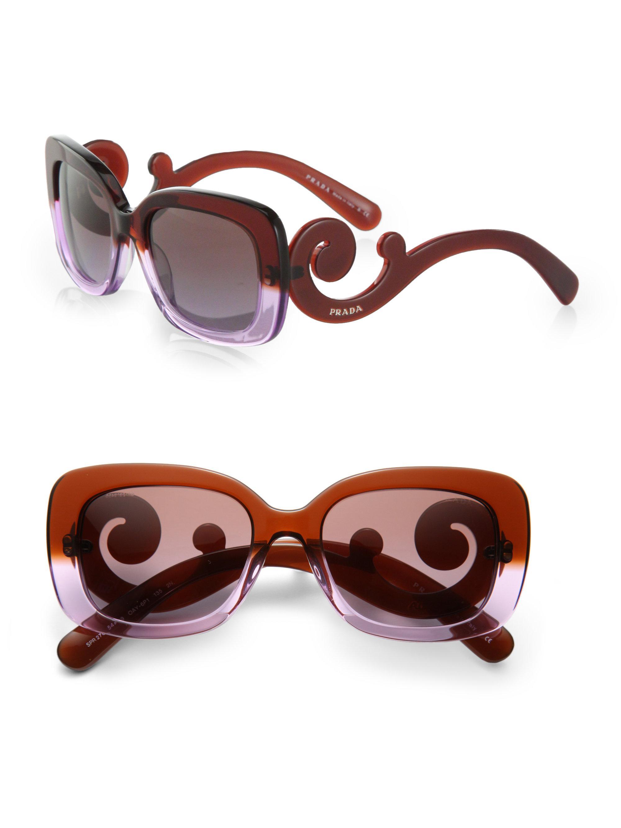 612ae5104636 ... best price lyst prada baroque square sunglasses in purple faca7 9a74e