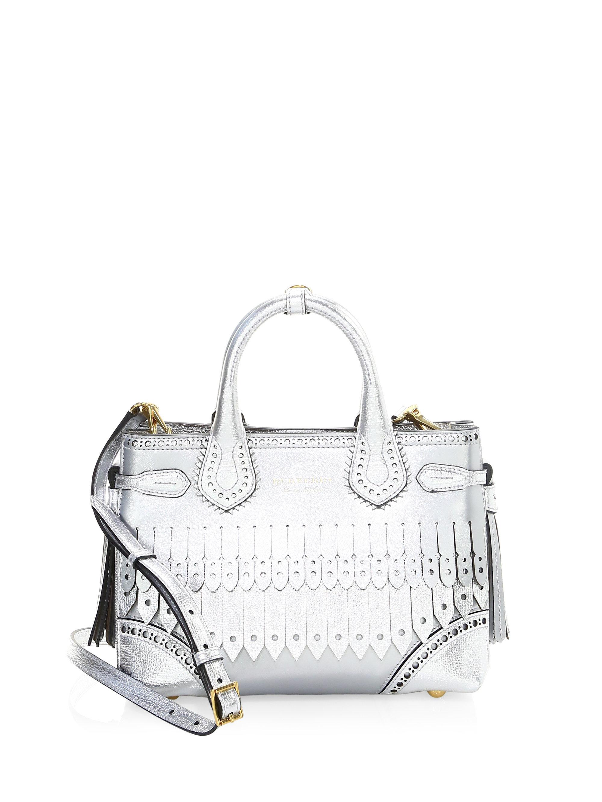 1a9d2c663bc5 Burberry Small Leather Brogue Satchel in Metallic - Lyst