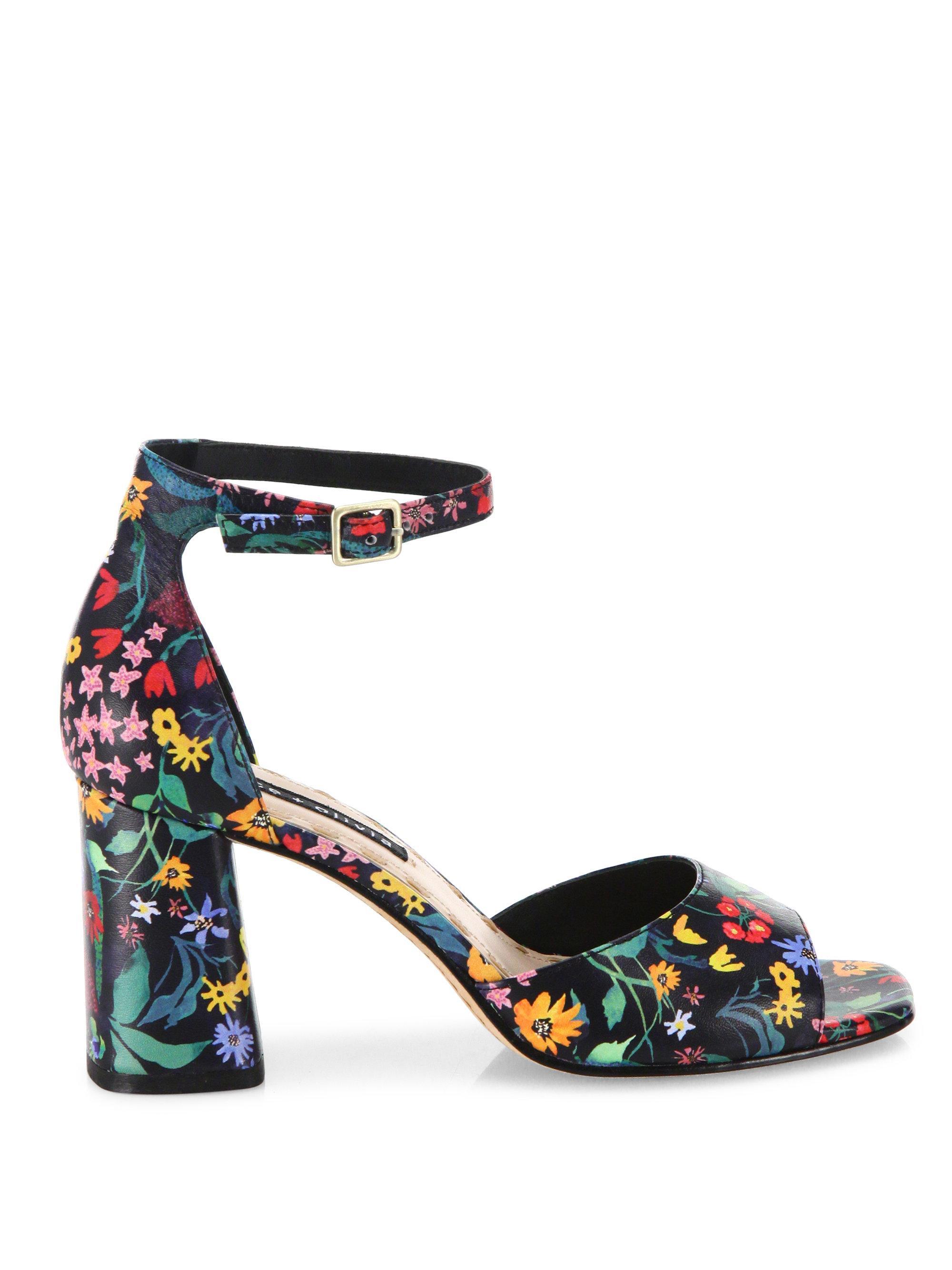930571c26 Lyst - Alice + Olivia Cooper Floral Leather Block Heel Sandals in Black