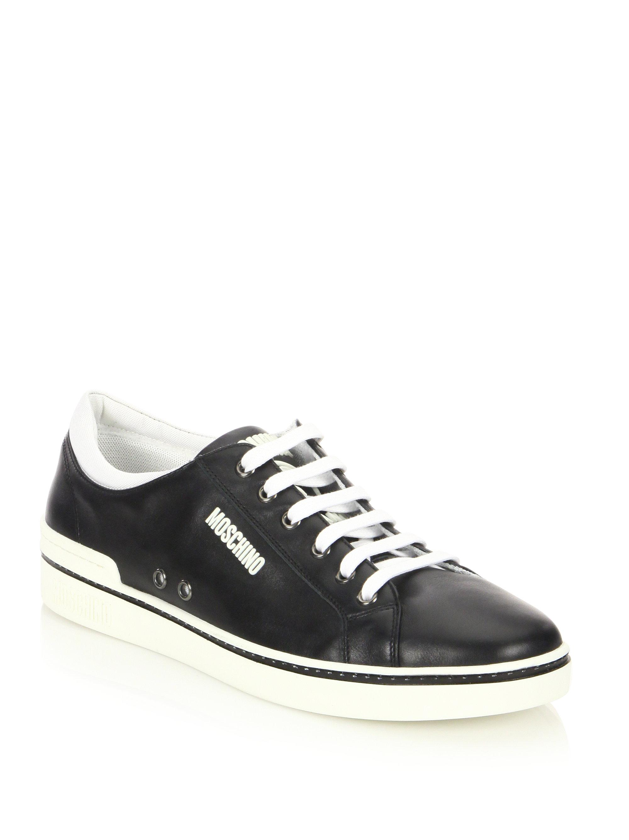 Moschino Contrast Leather Low-Top Sneakers 29ipw6G