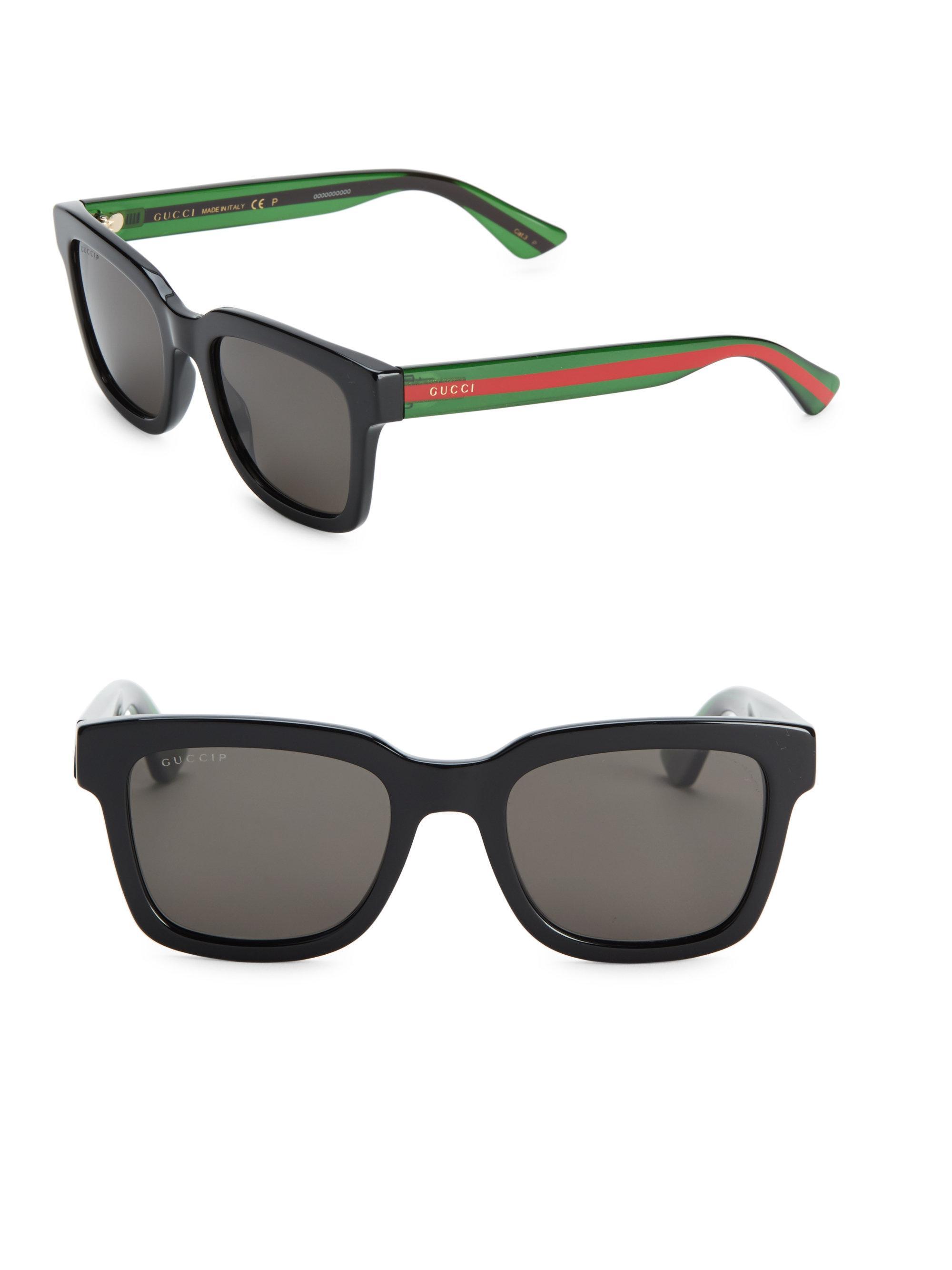 a252ac86923 Gucci Signature Stripe Wayfarer Sunglasses in Black for Men - Lyst