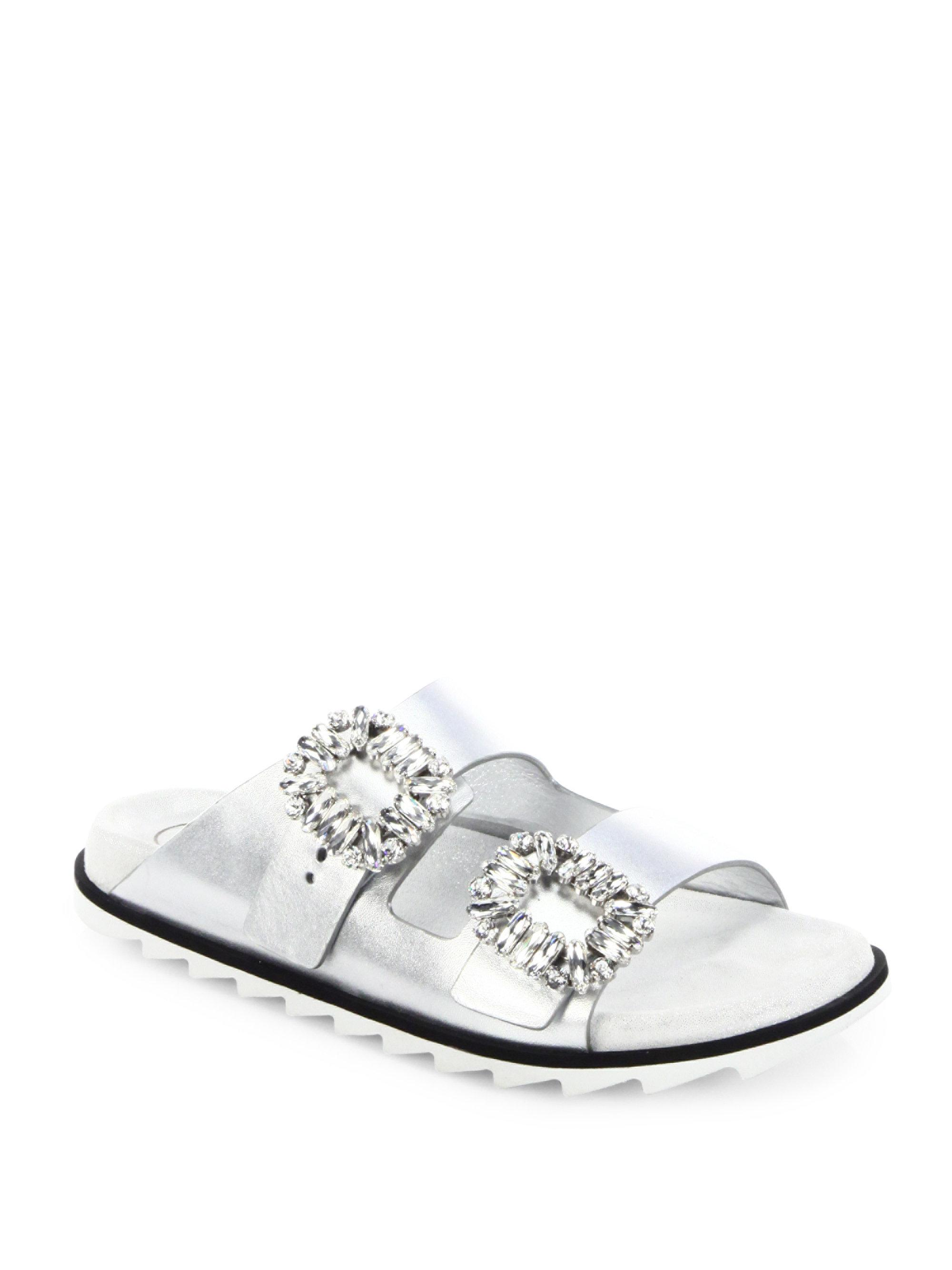 Roger Vivier Slidy Viv Crystal Buckle Metallic Leather Slides nwfMP