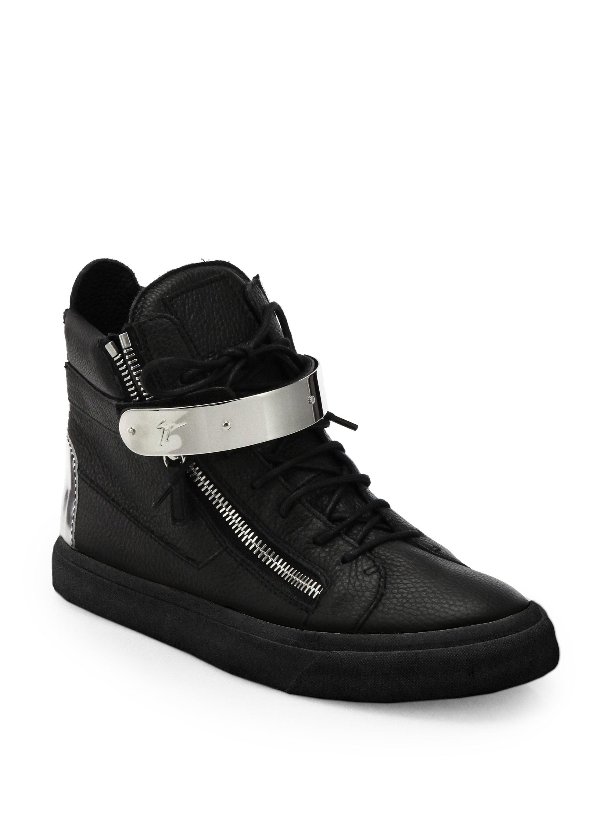 Giuseppe Zanotti. Men's Black Double-zip Bar High-top Sneaker