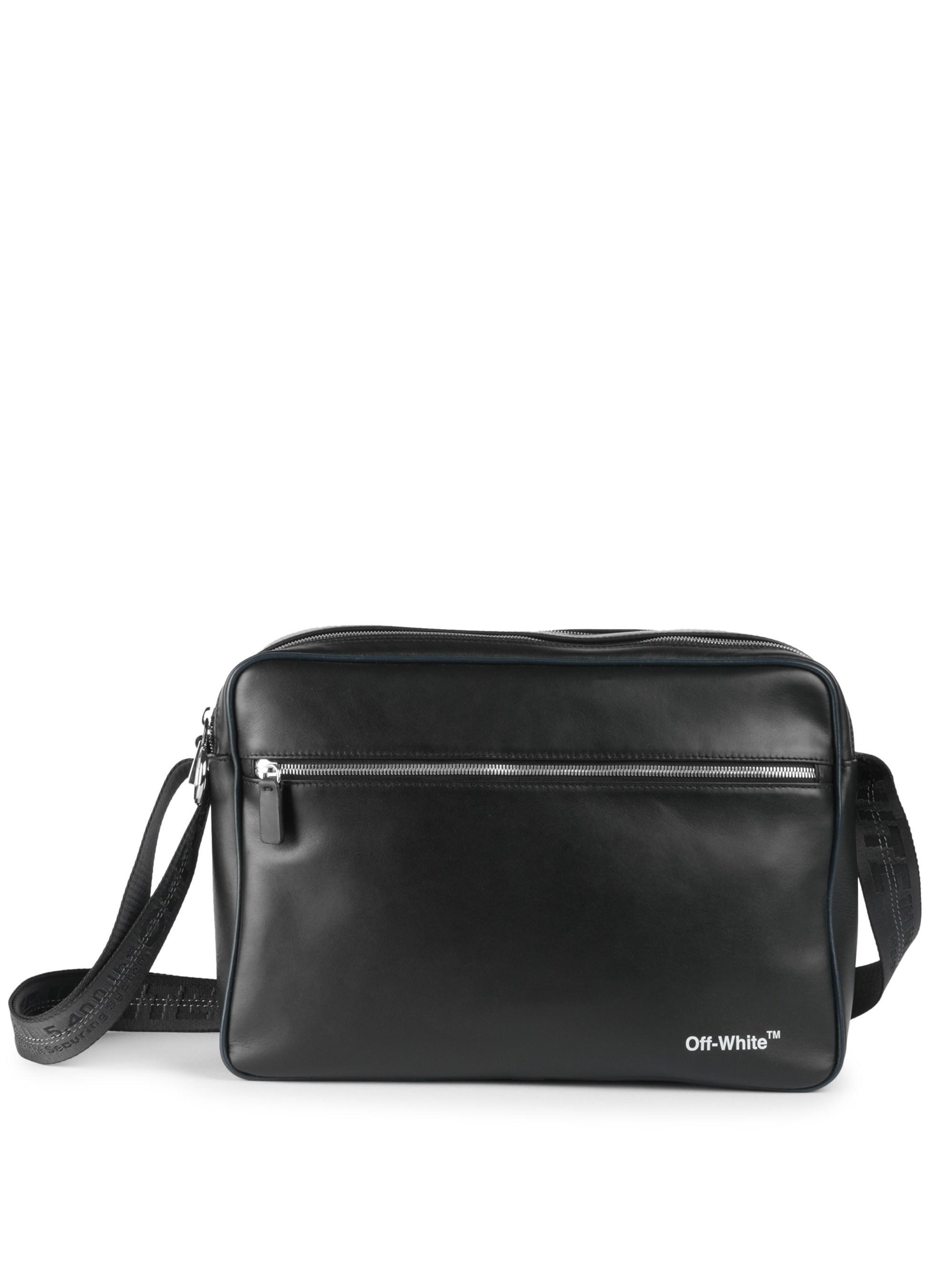 866ac6da228a Off-White c o Virgil Abloh. Men s Leather Messenger Bag - Black White