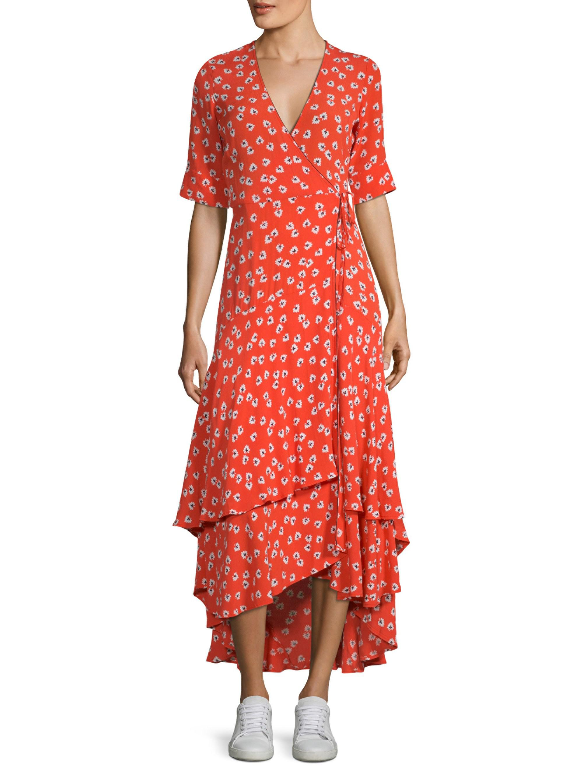 5a6bbd8a078a Ganni Floral-print Crepe De Chine Wrap Maxi Dress in Red - Lyst