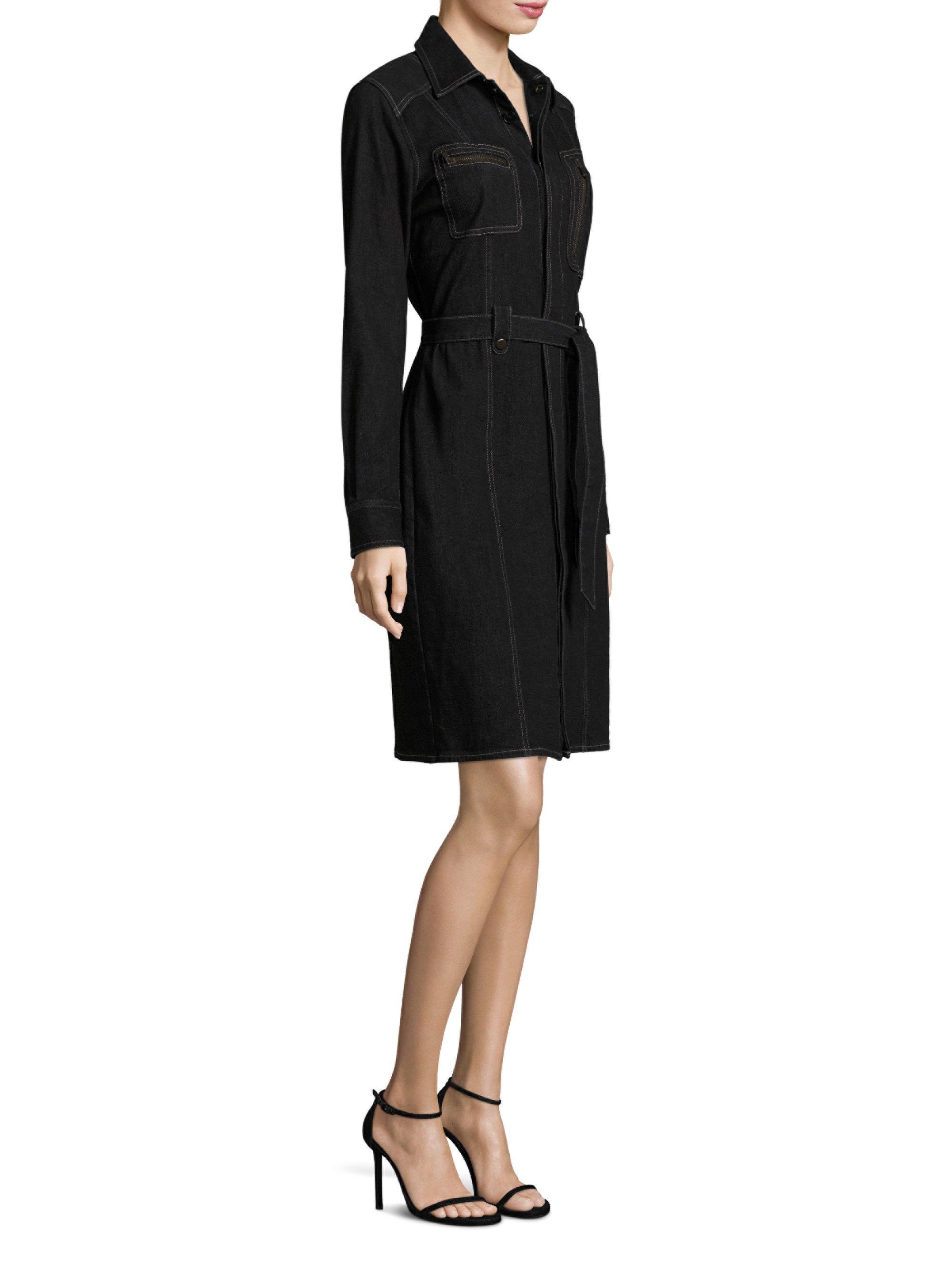 008dcc95975 Lyst - Polo Ralph Lauren Denim Utility Shirtdress in Black