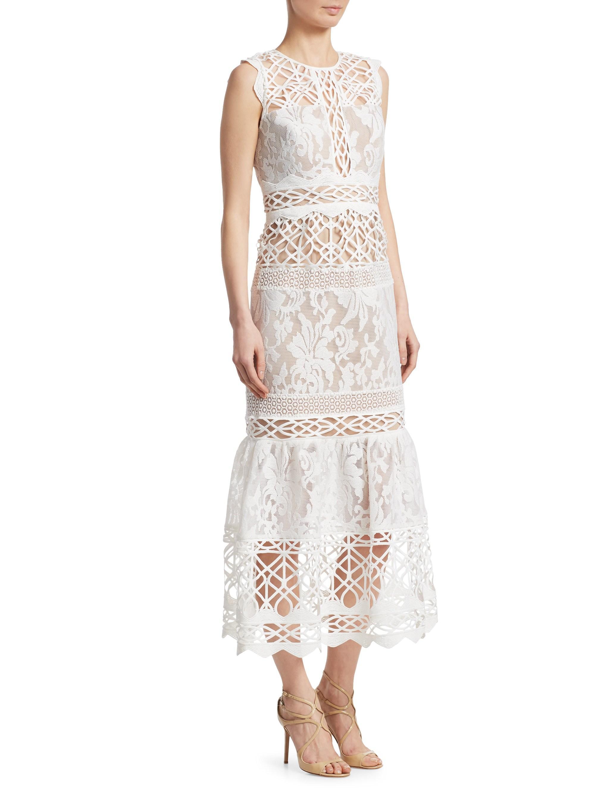 a83466852c5 Lyst - ML Monique Lhuillier Floral Lace Dress in White
