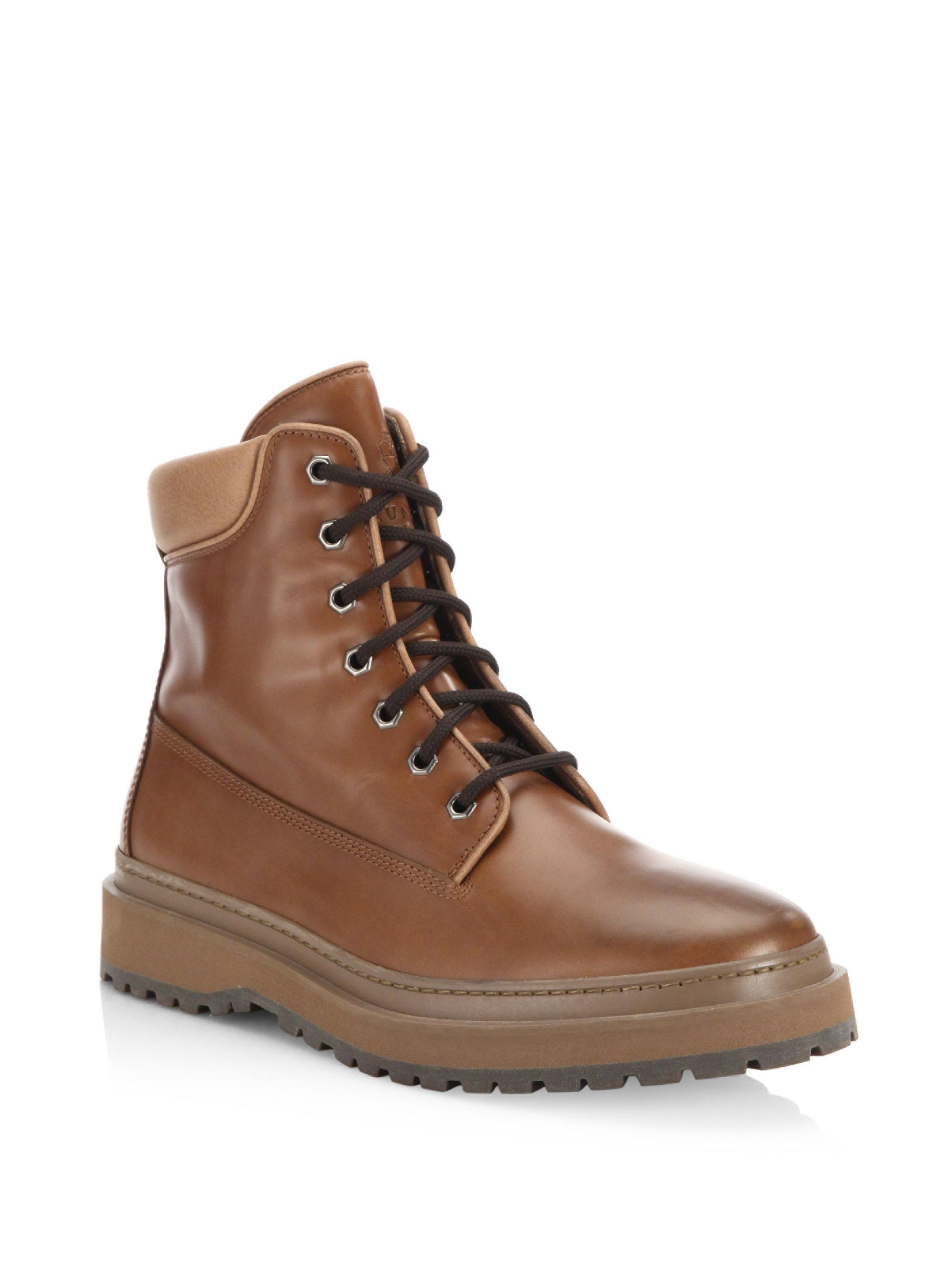 Brunello Cucinelli Mountain Lace-Up Leather Boots etePMR8Ru