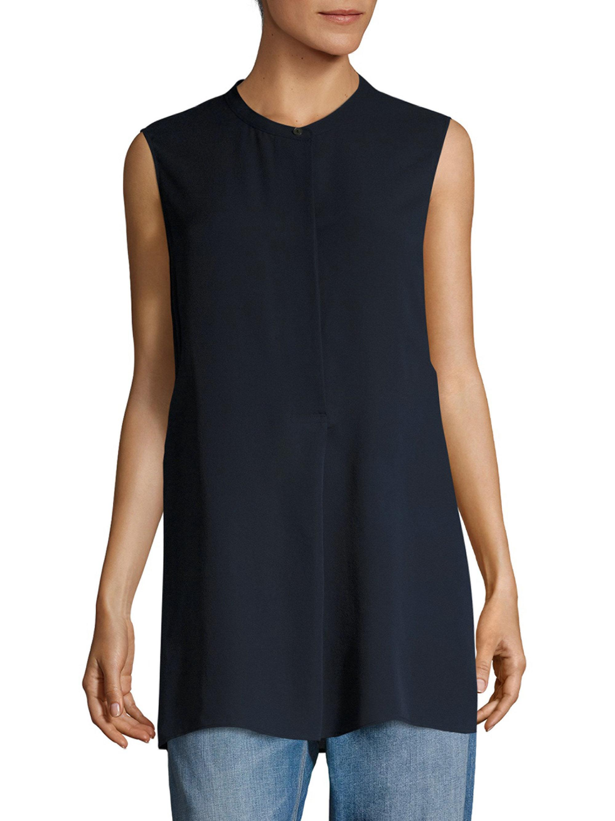 a774adfcb14018 Lyst - Vince Sleeveless Silk Tunic in Blue