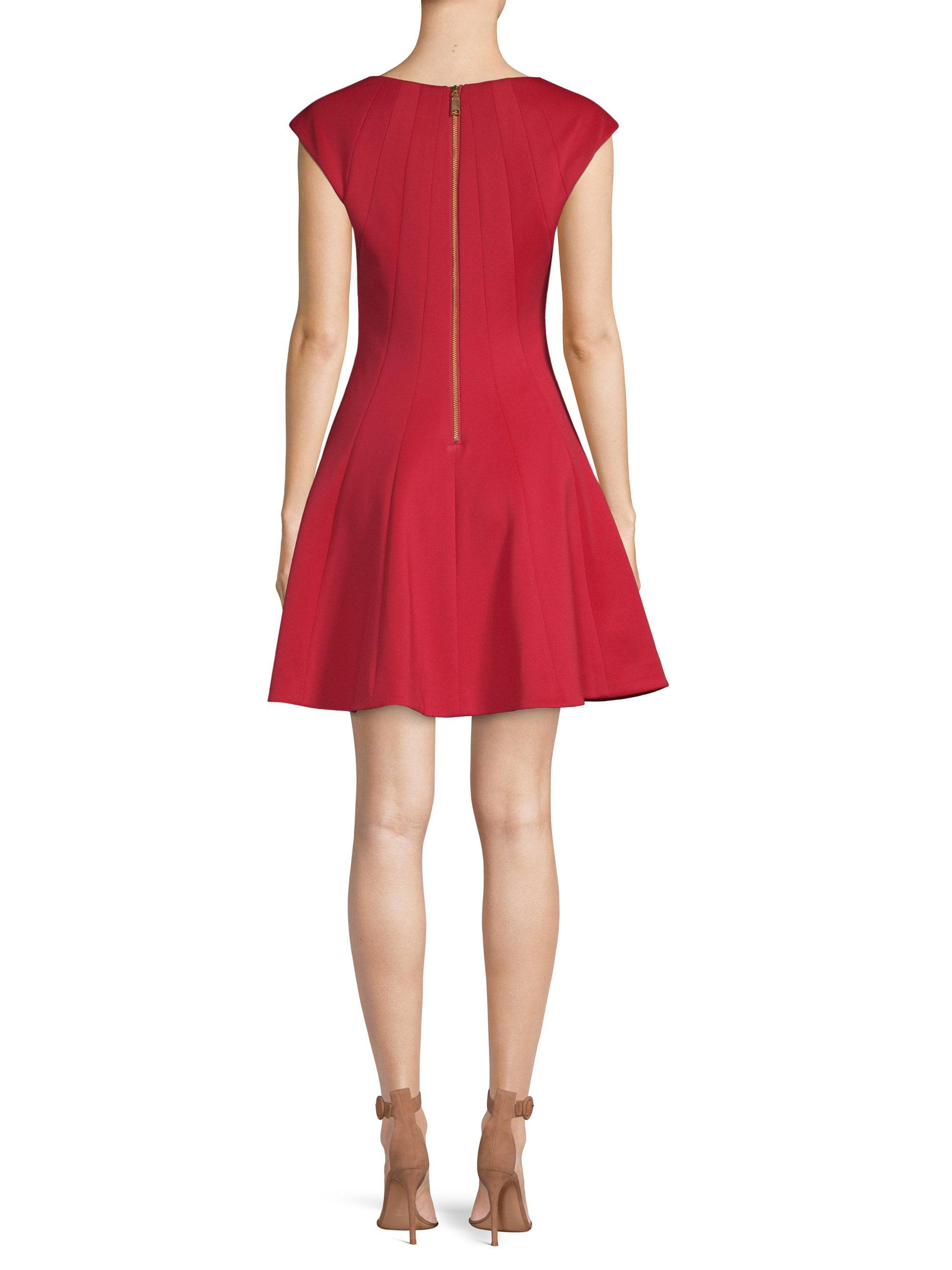 241e3d70 Laundry By Shelli Segal Scuba Crepe Fit-&-flare Dress in Red - Lyst