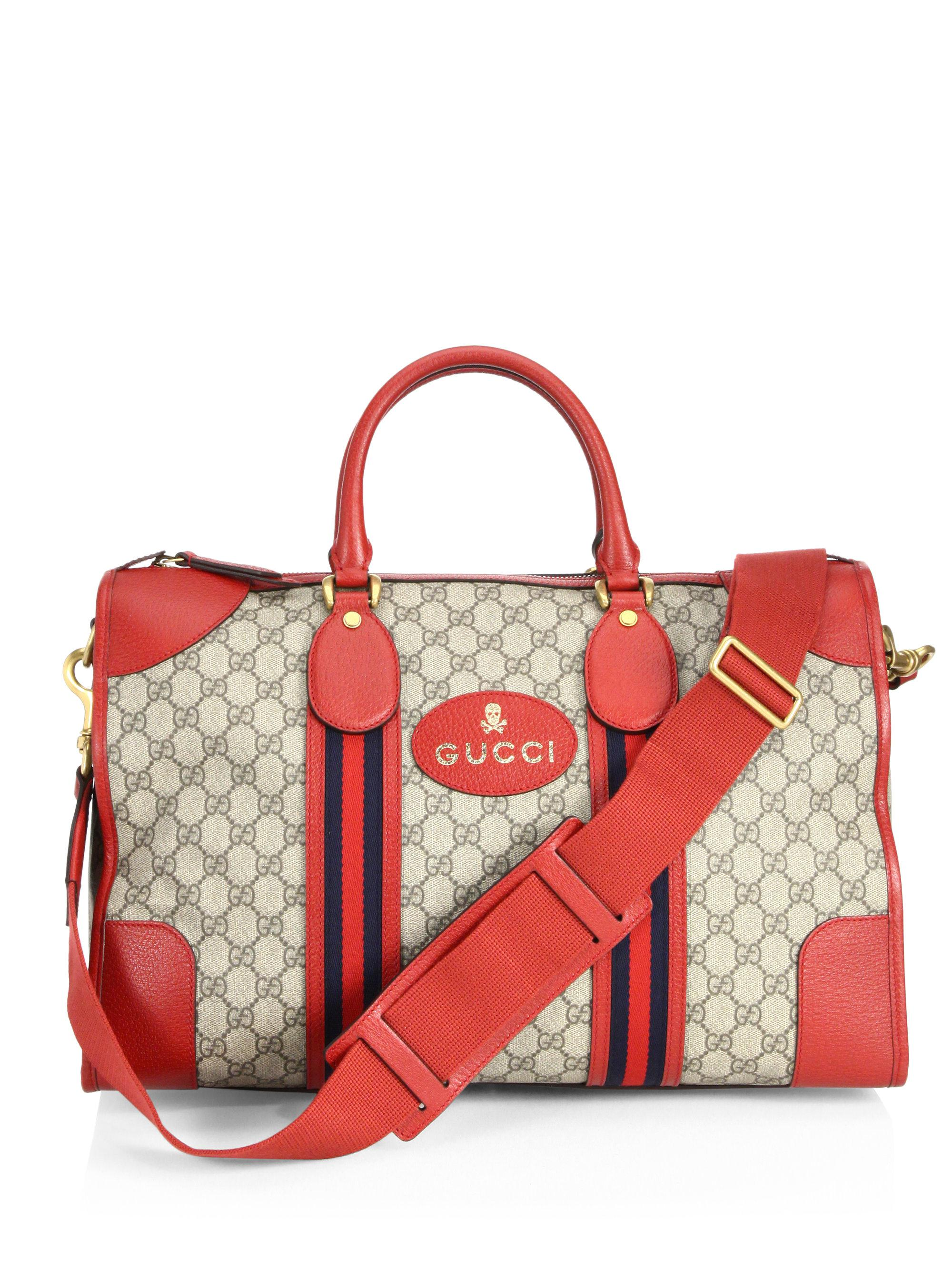 cf987605fb7 Gucci Soft Gg Supreme Web-detail Duffle Bag in Red - Lyst