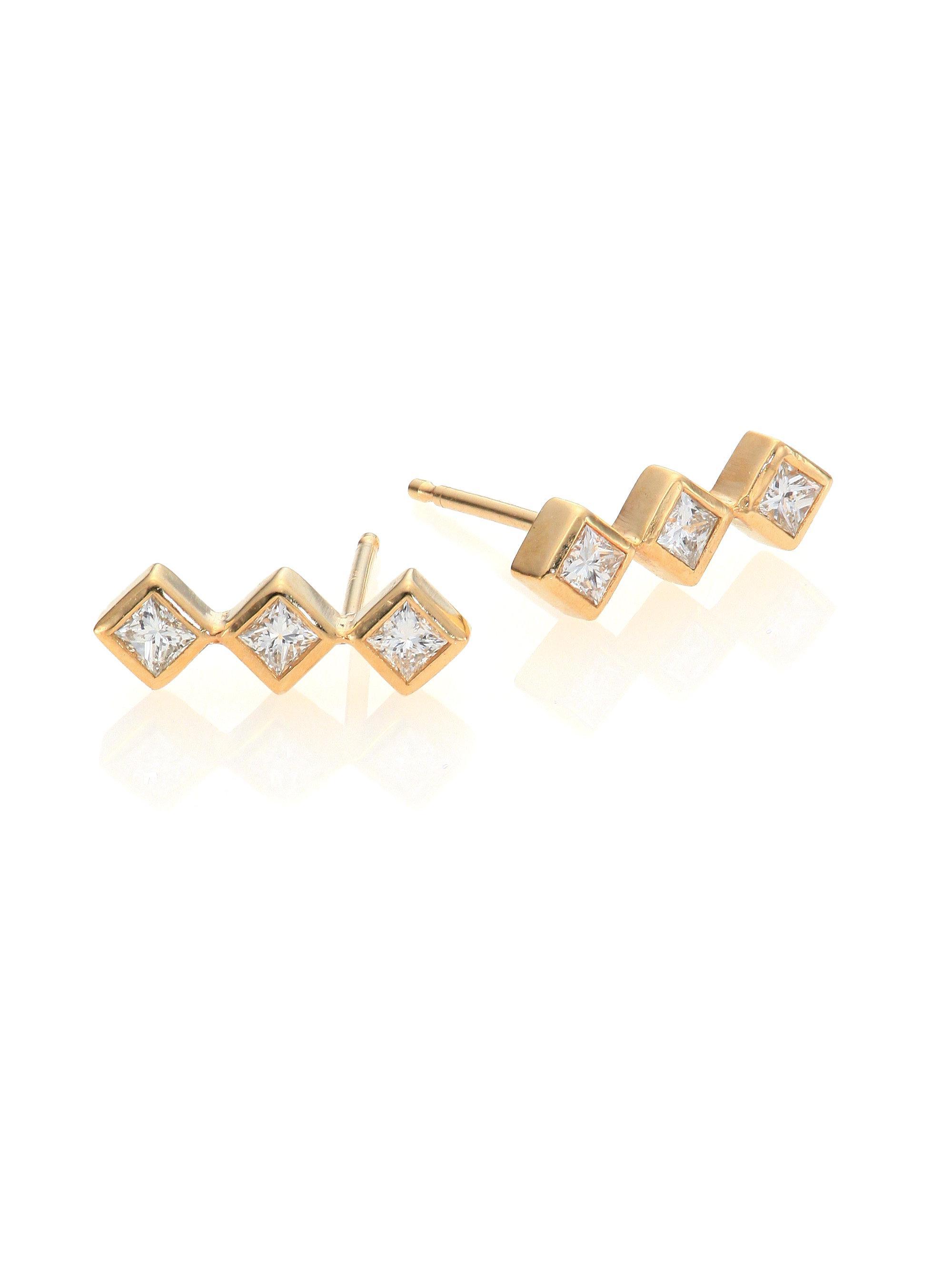ceb1499d21ad3 Lyst - Zoe Chicco Diamond & 14k Yellow Gold Princess Stud Earrings ...