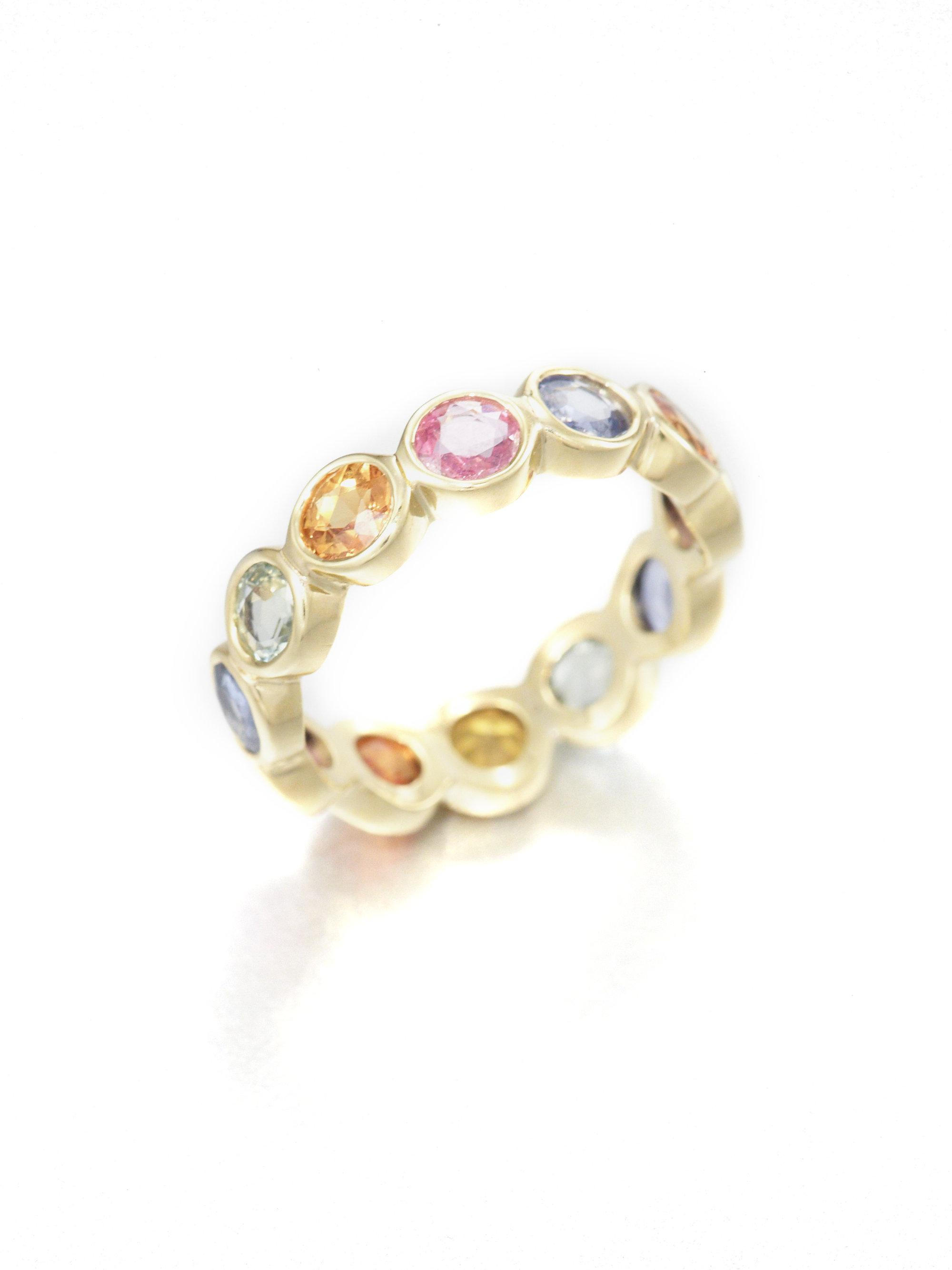 diamonds in sapphire band eternity with bands tw pink blue white and gold