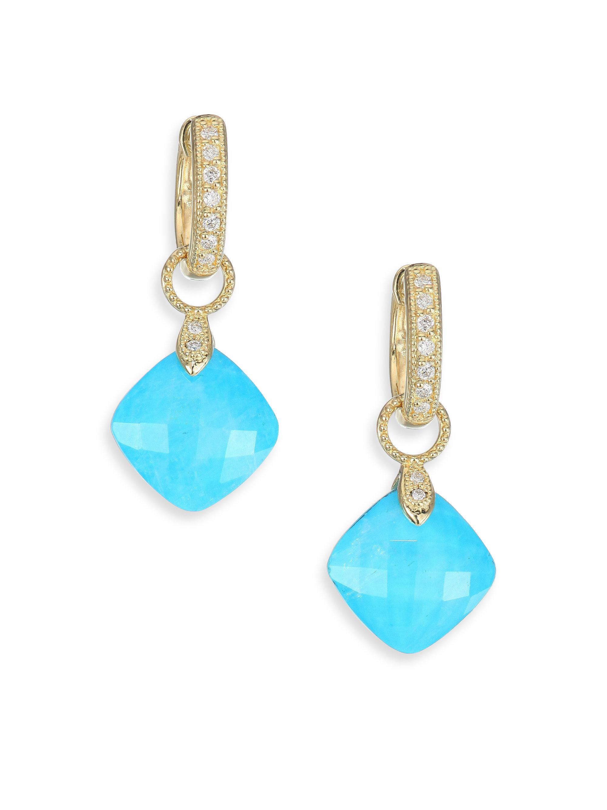 Jude Frances 18k Lisse Cushion Earring Charms, Moonstone