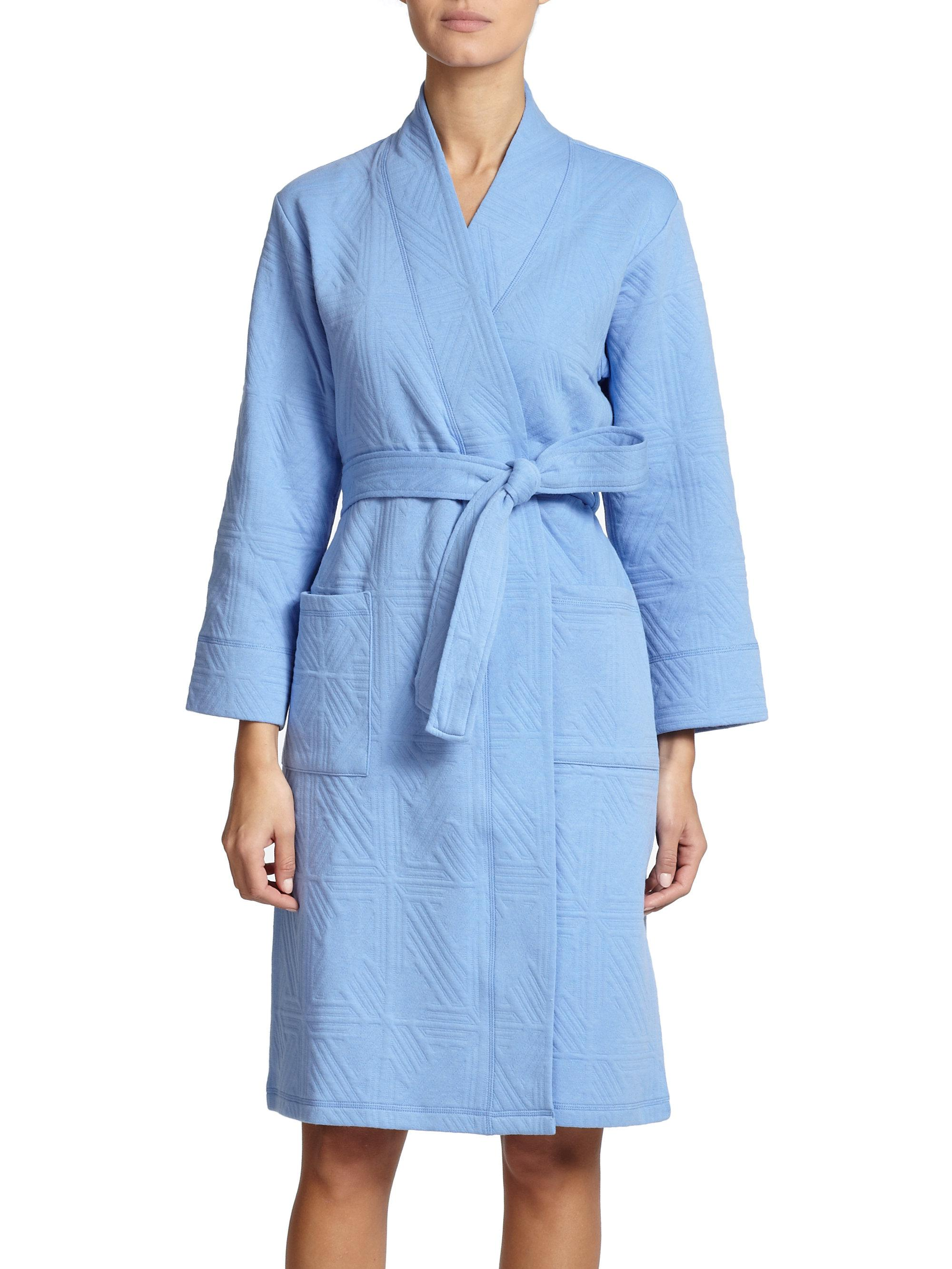 Lyst natori quilted jacquard robe in blue for Saks 5th avenue robes de mariage