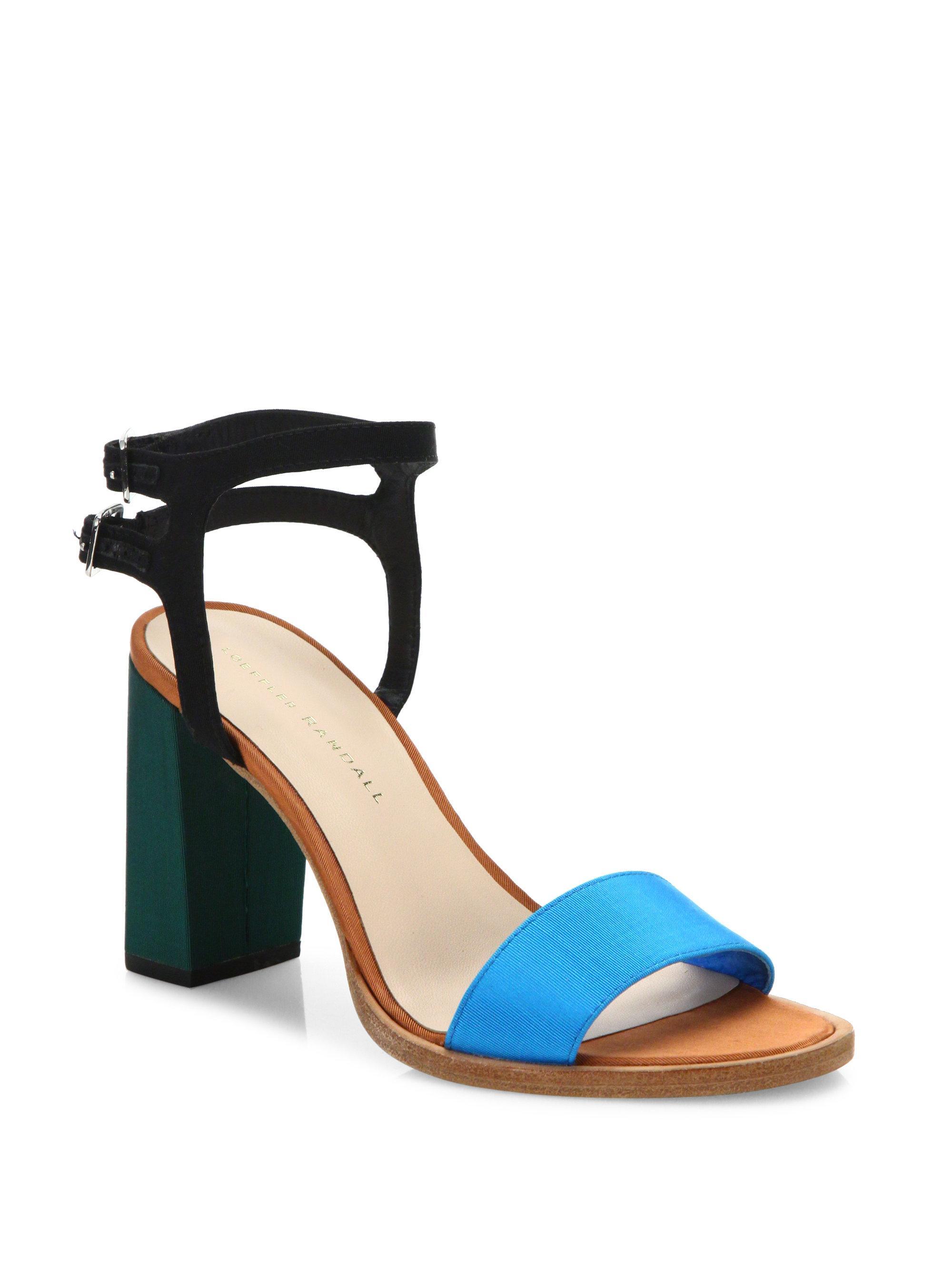 9c37203e6e3d Loeffler Randall Sylvia Colorblock Block Heel Sandals in Blue - Lyst