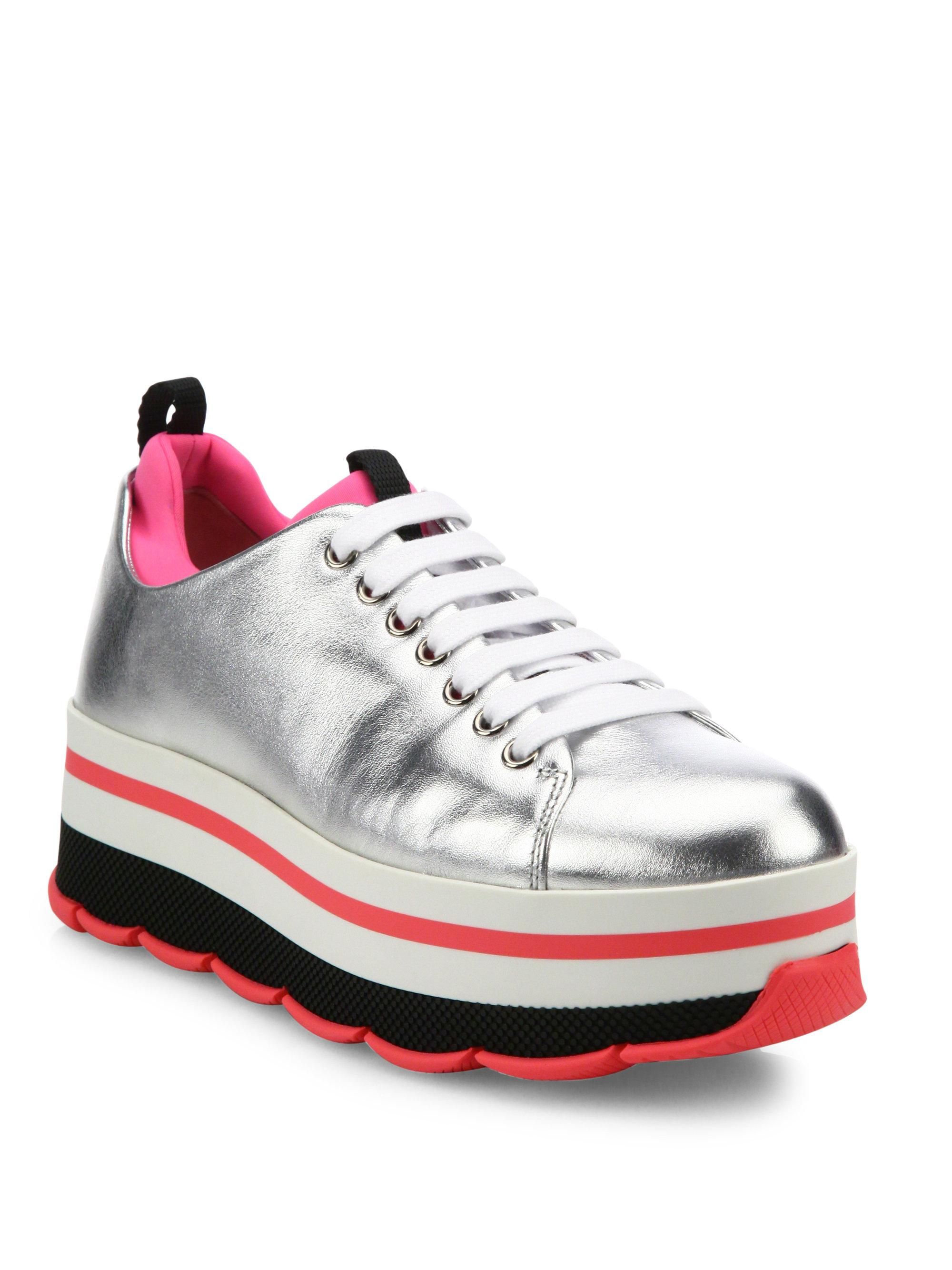 e432ccf4727c Lyst - Prada Leather   Neoprene Platform Sneakers