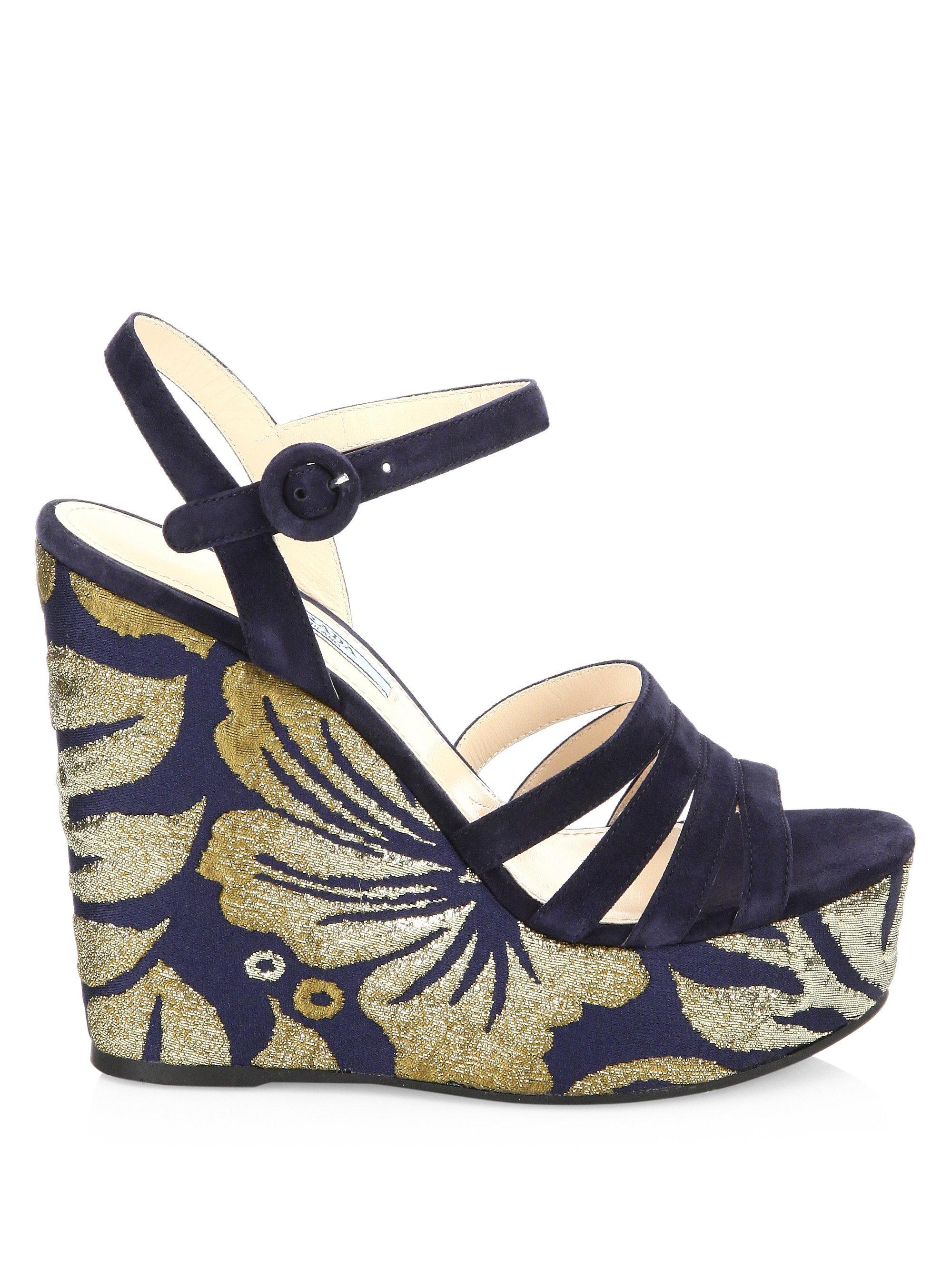 Prada brocade wedge sandals 2014 newest cheap price free shipping for nice dwFe1