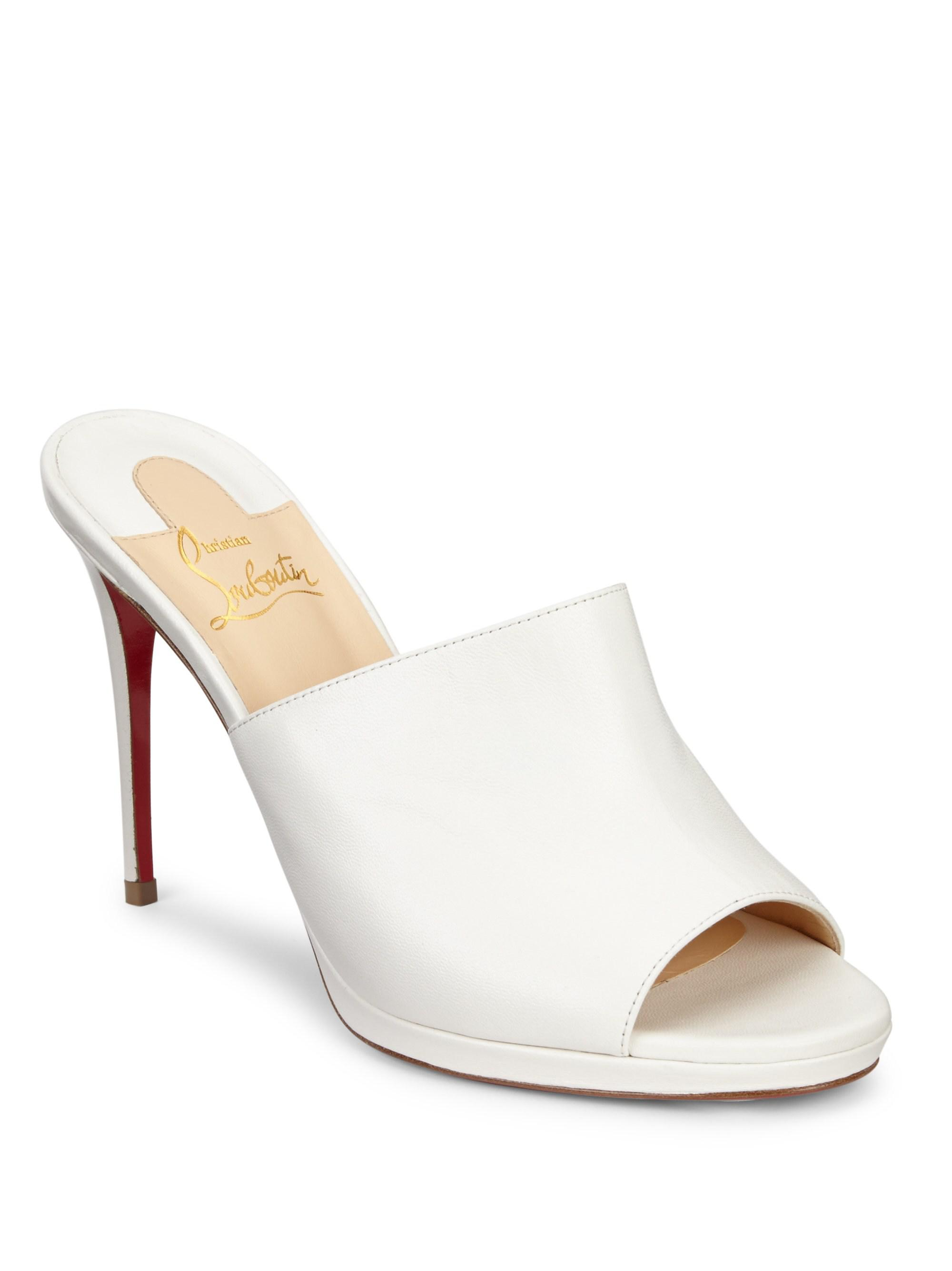 be3f9d6f888 Lyst - Christian Louboutin Pigamule 100 Leather Mules in White