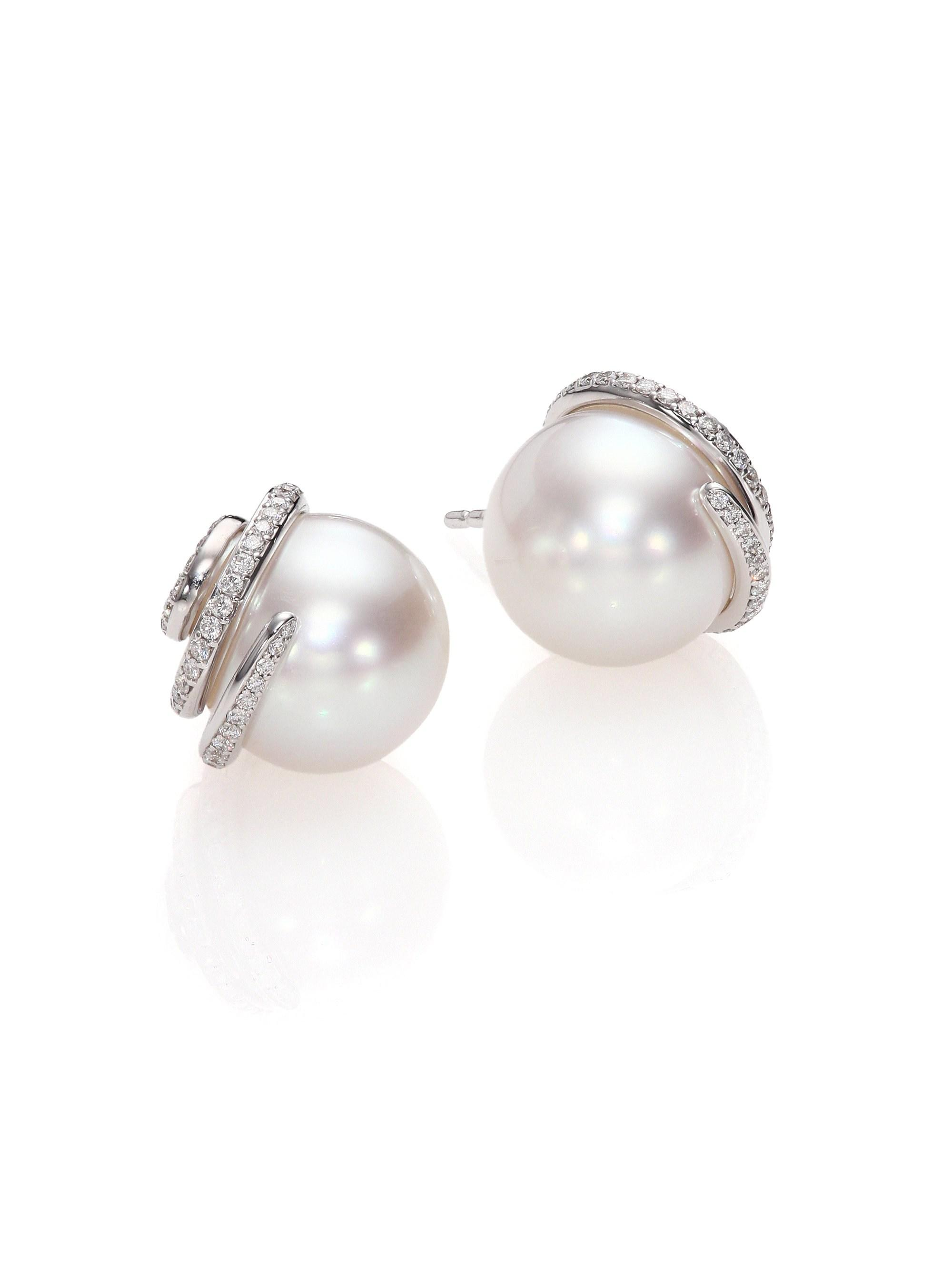 3abb911f6 Mikimoto - Women's Twist 11mm White Cultured South Sea Pearl, Diamond & 18k  White Gold. View fullscreen