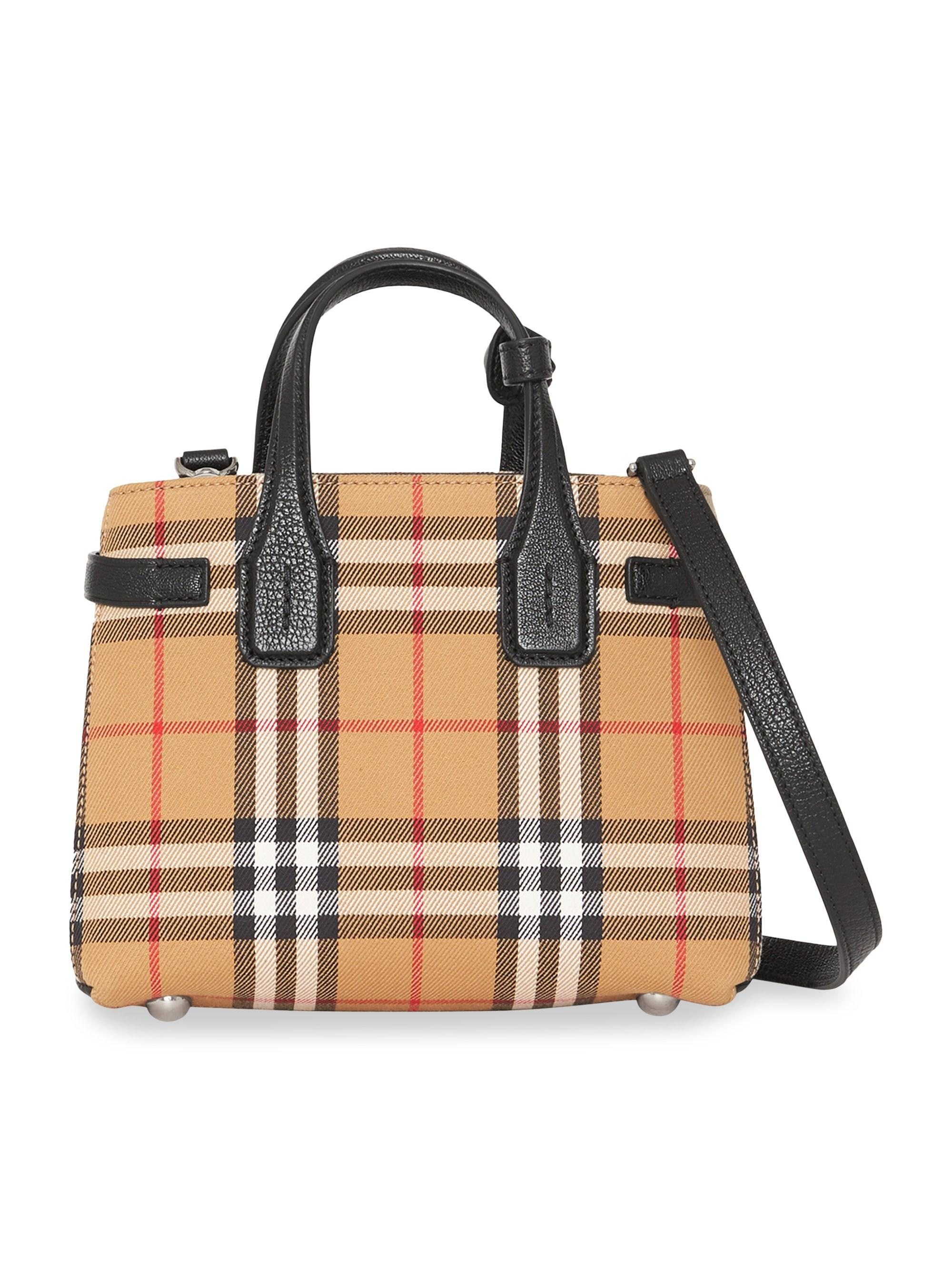 5e2c2e3b40 Burberry The Baby Banner In Vintage Check And Leather - Save 33% - Lyst