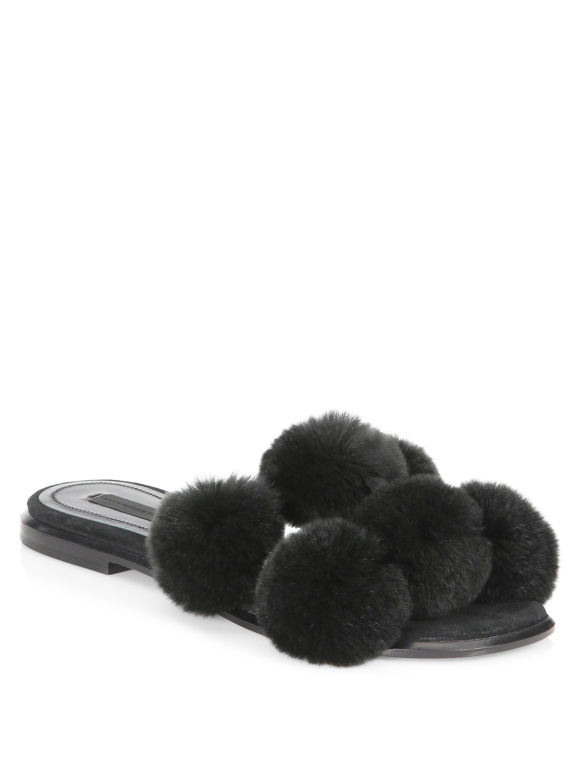 Vente Meilleur parfait Alexander Wang Black Ava Fur Slides Visite Nouvelle Sortie exxh6zx