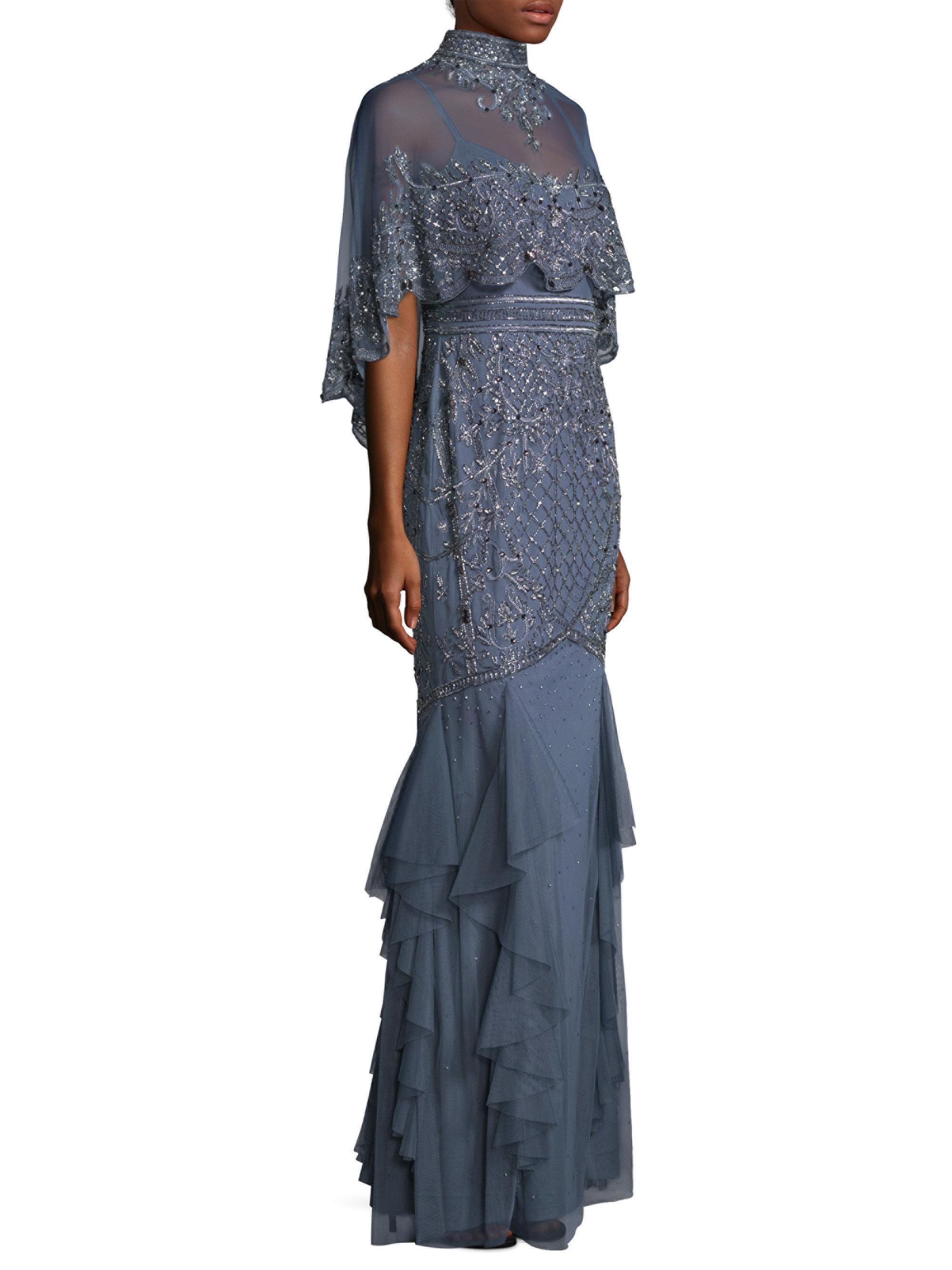 Lyst - Aidan Mattox Capelet Floor-length Dress in Blue